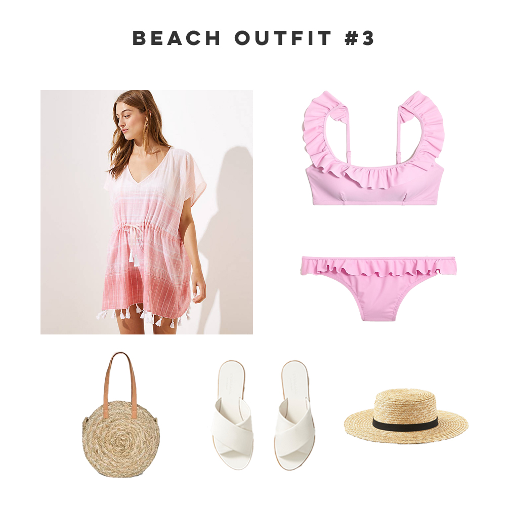 Three Easy Beach Vacation Outfits, Beach Cover Up, Ruffle Bikini, Straw Bag, Woven Hat, White Sandals - Sunshine Style