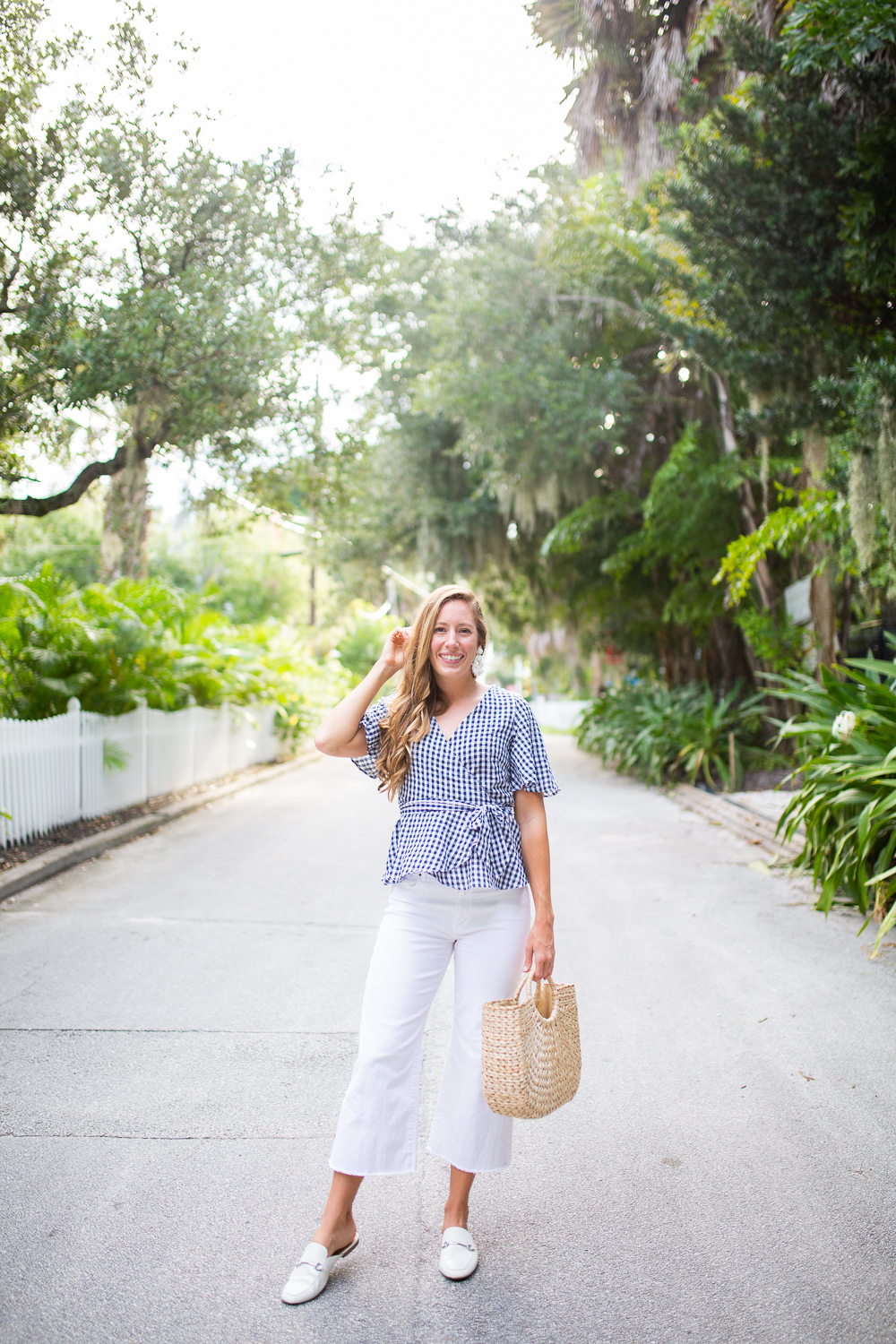 Classic Blue and White End of Summer Outfit / How to Style Wide Leg Pants / How to Style a Wrap Top / Summer Outfit Inspiration / Coastal Outfit Inspiration / Gingham Wrap Top / White Casual Wide Leg Pants / Backless Mules / Straw Bag - Sunshine Style