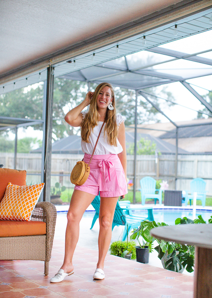 Classic J.Crew Bow Shorts / White Cotton Top / Colored Shorts / Statement Earrings / What to Wear on a Hot and Humid Summer Day - Sunshine Style, Florida Fashion Blog