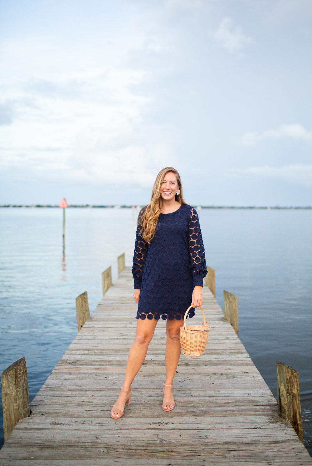 What to Wear to a Fall Wedding / Preppy Dress Ideas for a Fall Wedding / Navy Wedding Guest Dress / Sail to Sable Dress - Sunshine Style Blog