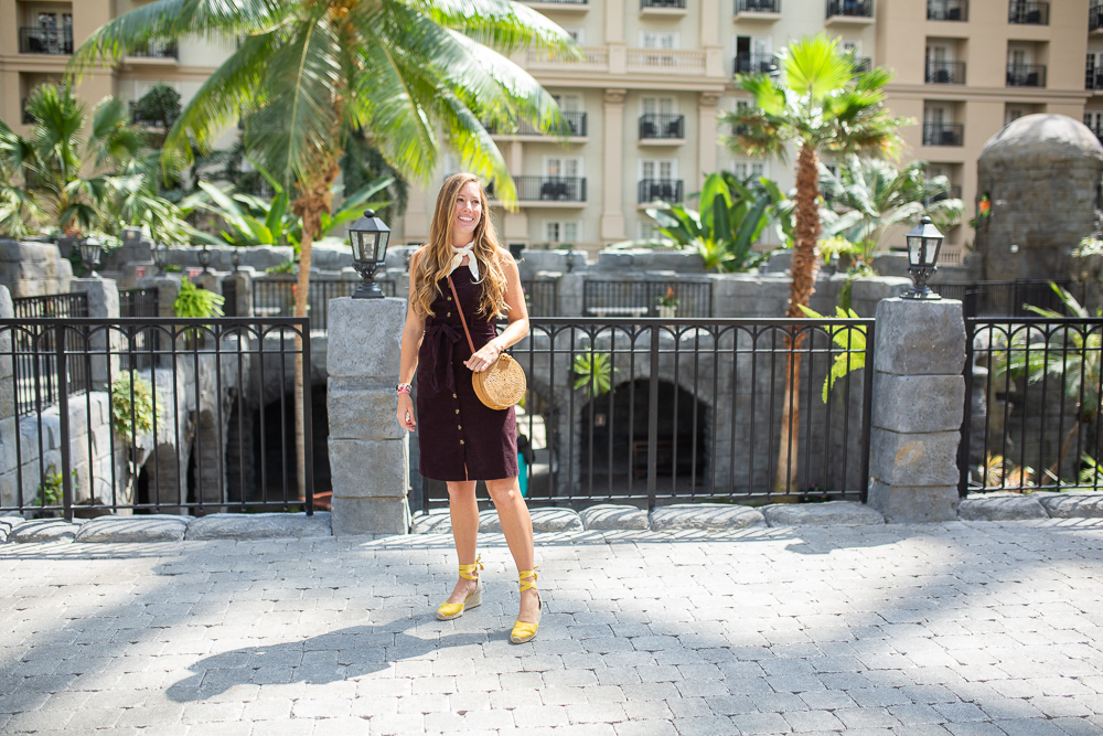 Recap of Gaylord Palms Orlando, Florida Day Trip + What I Wore / Corduroy Button Up Dress / Travel Outfit Inspiration - Sunshine Style, Florida Fashion, Travel and Lifestyle Blog