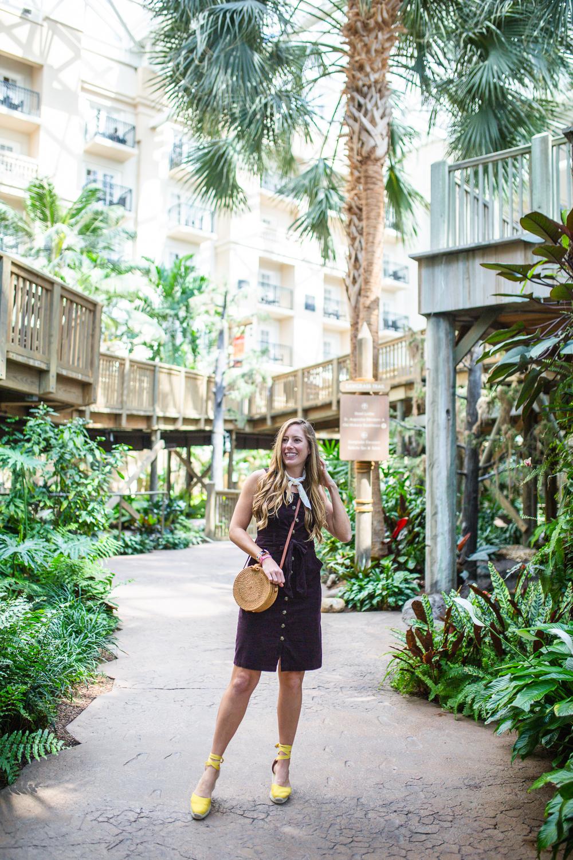 Recap of Gaylord Palms Orlando, Florida Day Trip / Corduroy Button Front Sleeveless Dress - Sunshine Style