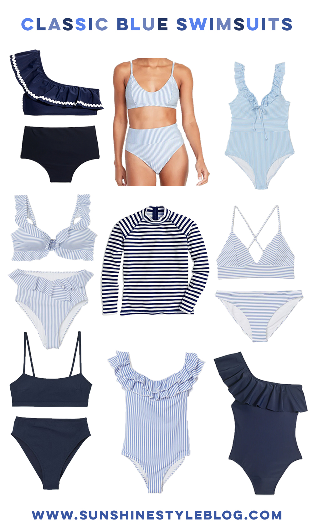Classic Blue Summer Swimsuits / Classic Navy High Waist Swimsuit / Classic Striped One piece Swimsuit / Sunshine Style - A Florida Fashion and Lifestyle Blog