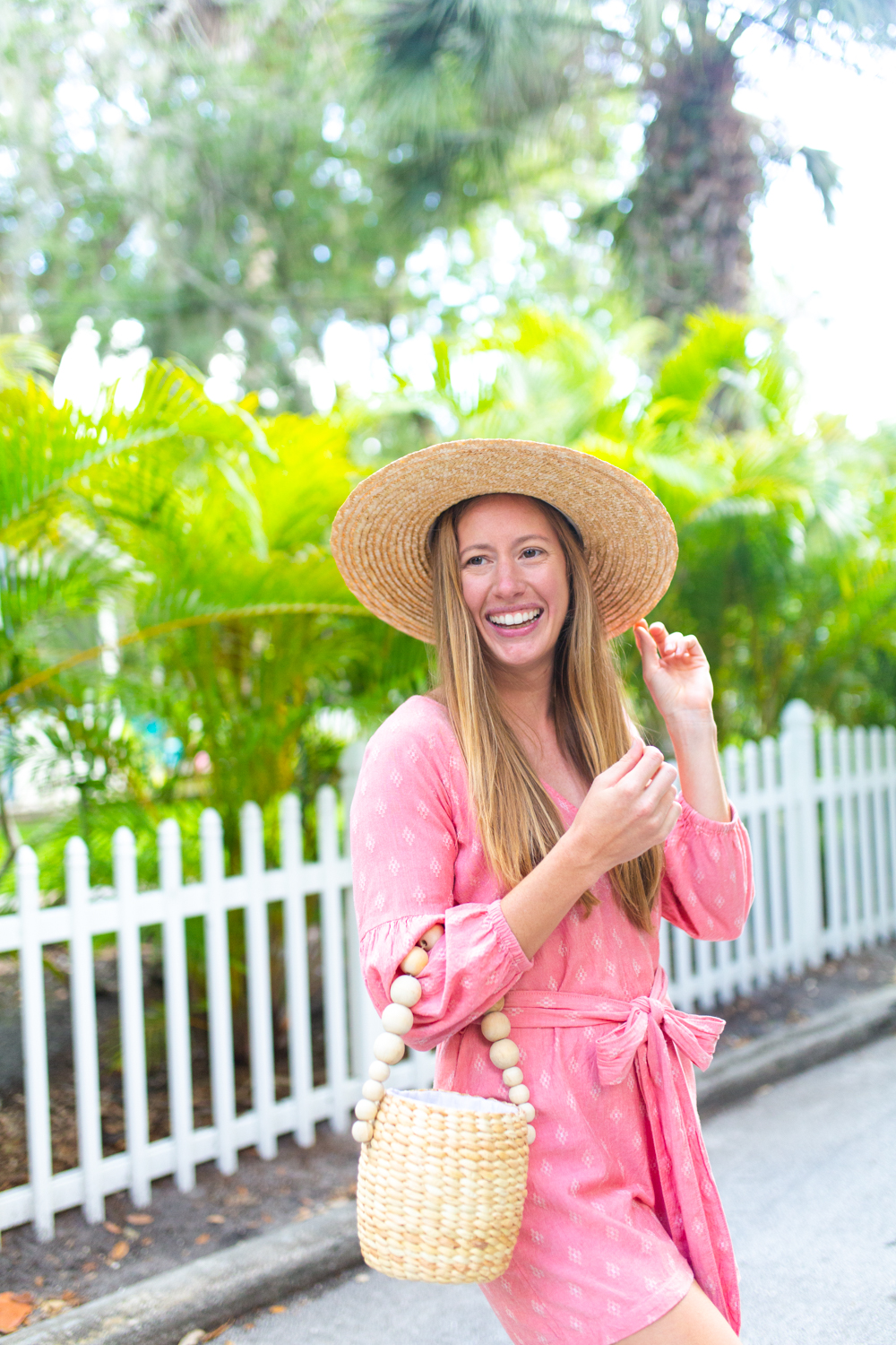 Affordable Rattan and Straw Accessories for Spring and Summer / Spring Jumpsuit / LOFT Romper / Pink Jumpsuit / How to Style Straw Accessories / Simple Spring Outfit / Spring Outfit Inspiration - Sunshine Style, A Florida Fashion and Lifestyle Blog by Katie McCarty