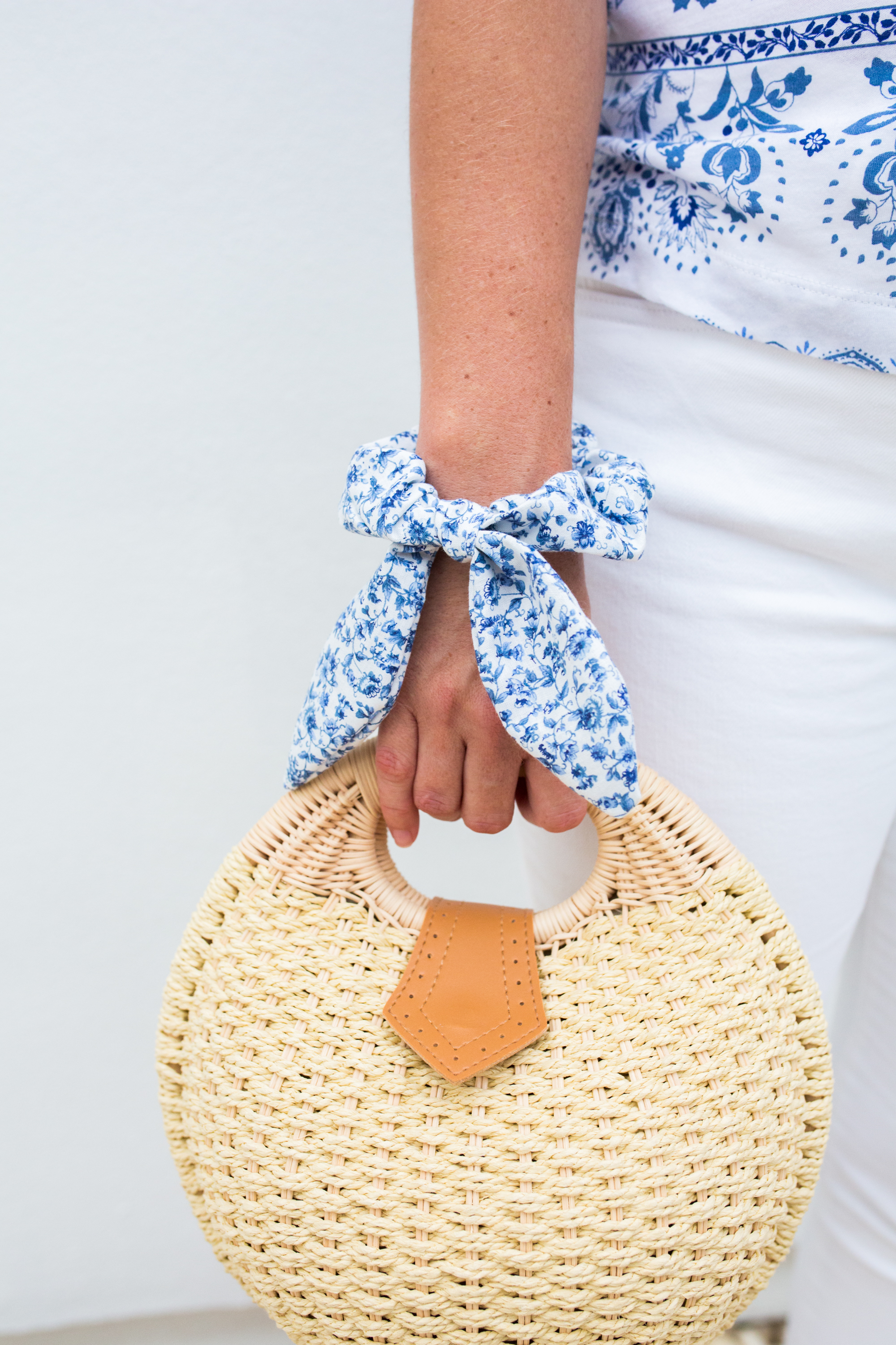 Blue and White Floral Scrunchie / Bow Hair Scrunchie / Hair Accessory / Straw Bag / White Jeans - Sunshine Style