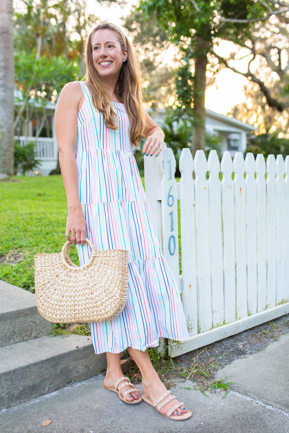J.Crew Factory Striped Maxi Dress / How to Style a Maxi Dress in Warm-Weather / Summer Maxi Dress / Summer Dress Outfit / Preppy Outfit / Preppy Style Summer - Sunshine Style, A Florida Fashion and Lifestyle Blog