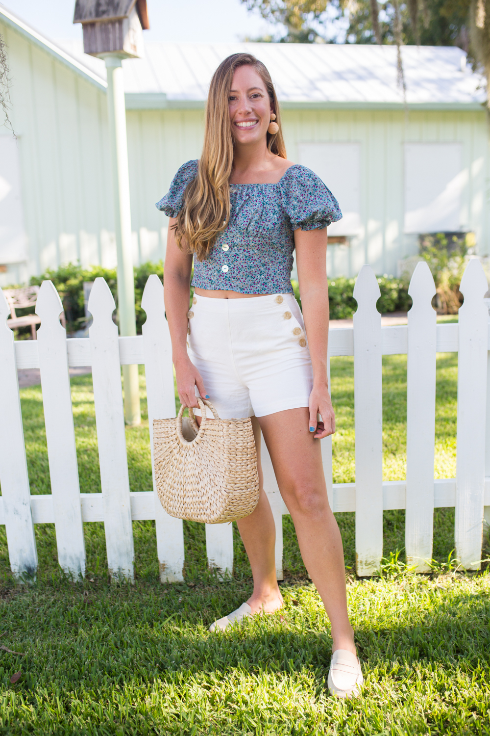 Puff Sleeve Floral Top / Summer Outfit Inspiration / Pretty Outfit / Preppy Style / Classic White Shorts / Sailor Style / Casual Summer Outfit - Sunshine Style, A Florida Fashion and Lifestyle Blog #preppy #fashion #summer #summerstyle #summeroutfit #coastal