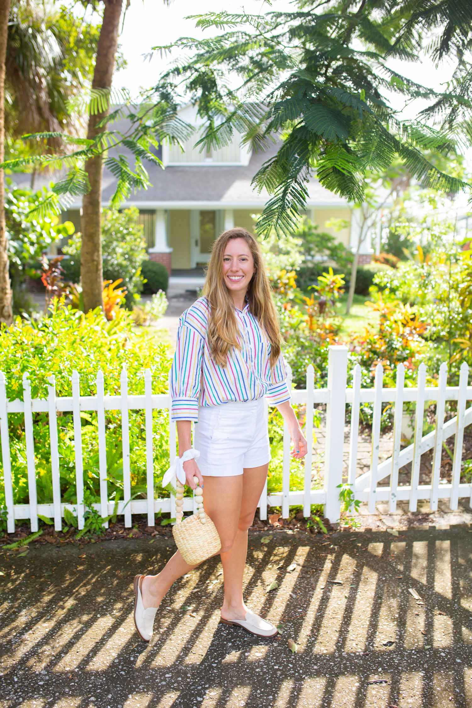Casual Striped Button Down Top / Long Sleeve Top / Tuckernuck Top / Casual Fall Outfit / Fall Transition Outfit / White Shorts / Straw Bag - Sunshine Style, A Preppy Fashion and Coastal Lifestyle Blog