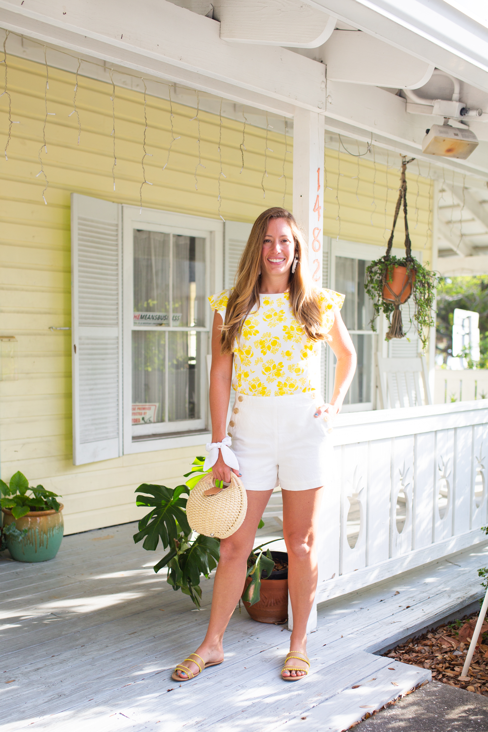 End of Summer Style / Citrus Top / Ruffle Top / Casual Summer Outfit / Classic Summer Outfit / Preppy Style / Sailor Shorts / White Shorts / Straw Bag - Sunshine Style - A Preppy Fashion and Coastal Lifestlyle Blog