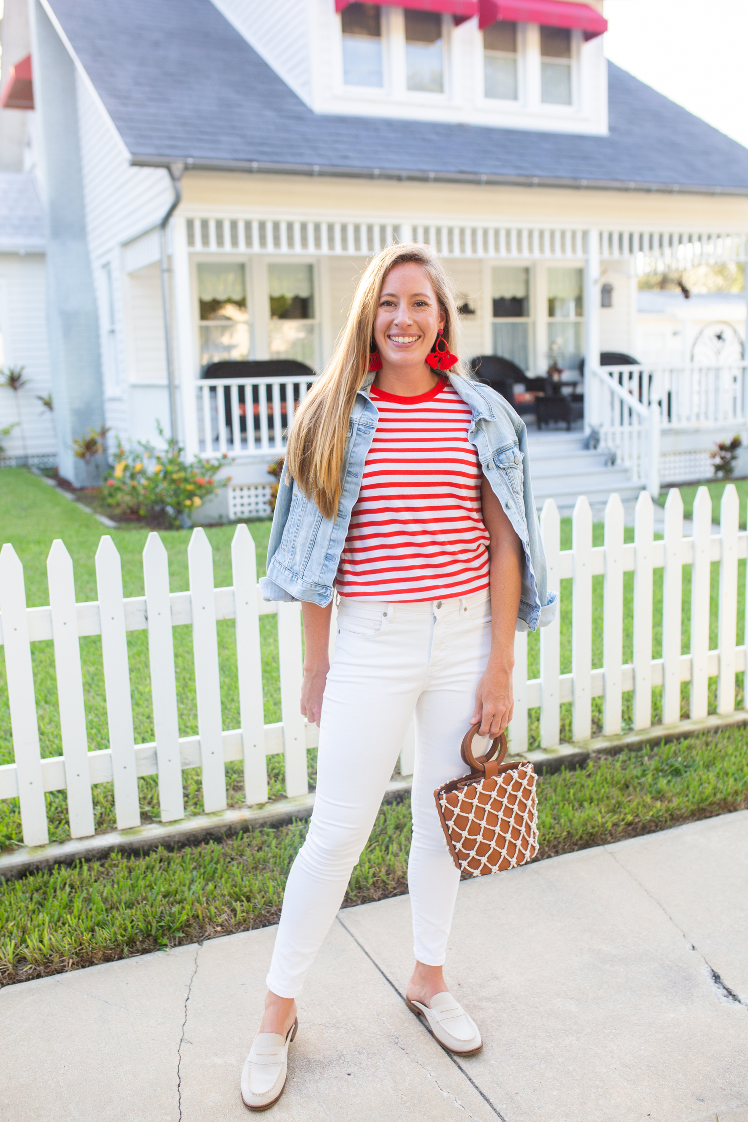 Everlane White Mid-Rise Skinny Jeans / Striped Top / Fall Outfit Inspiration / Jean Jacket / Casual Fall Outfit / Coastal Style / Preppy Outfit  / How to Style White Jeans - Sunshine Style - A Preppy Fashion and Coastal Lifestyle Blog by Katie