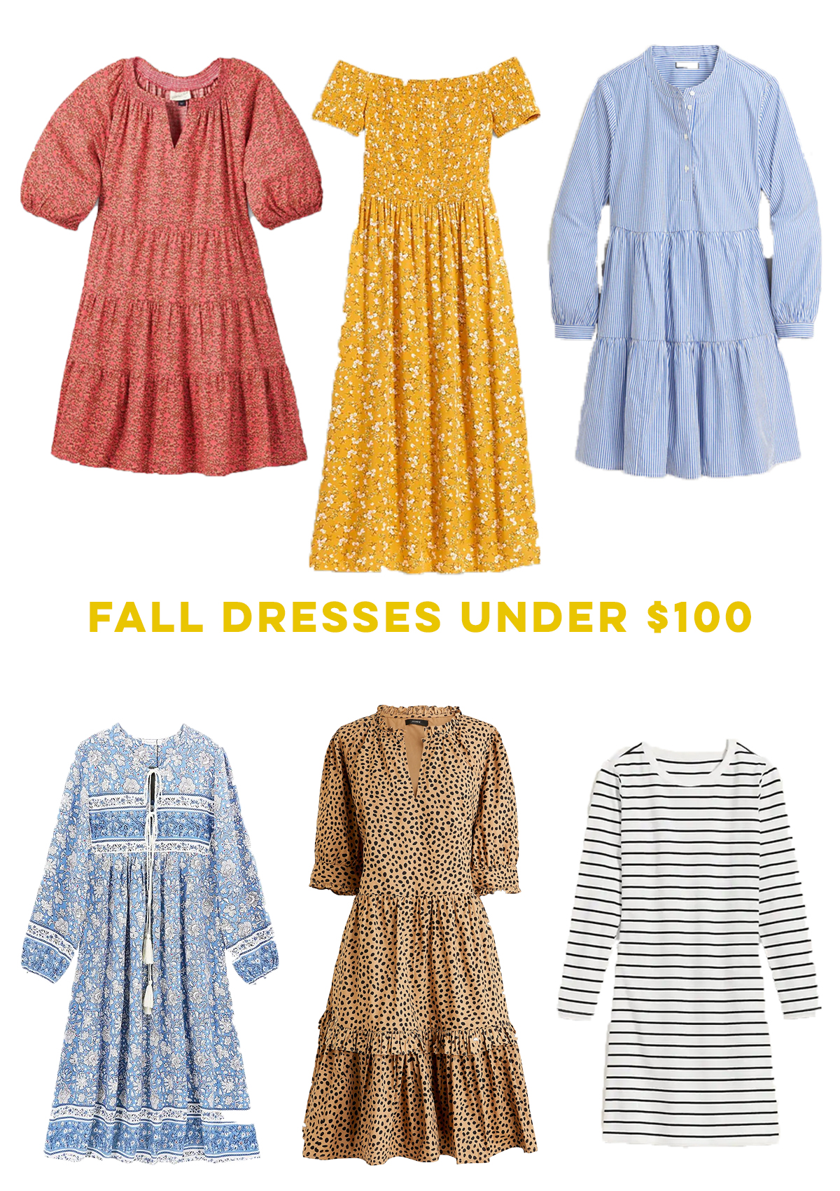 Affordable Fall Dresses Under $100 / Babydoll Dress / Tiered Dress / Ruched Dress / Striped Dress / Long Sleeve Dress / Leopard Print Dress / Floral Dress - Sunshine Style, A Preppy Fashion and Coastal Lifestyle Blog by Katie