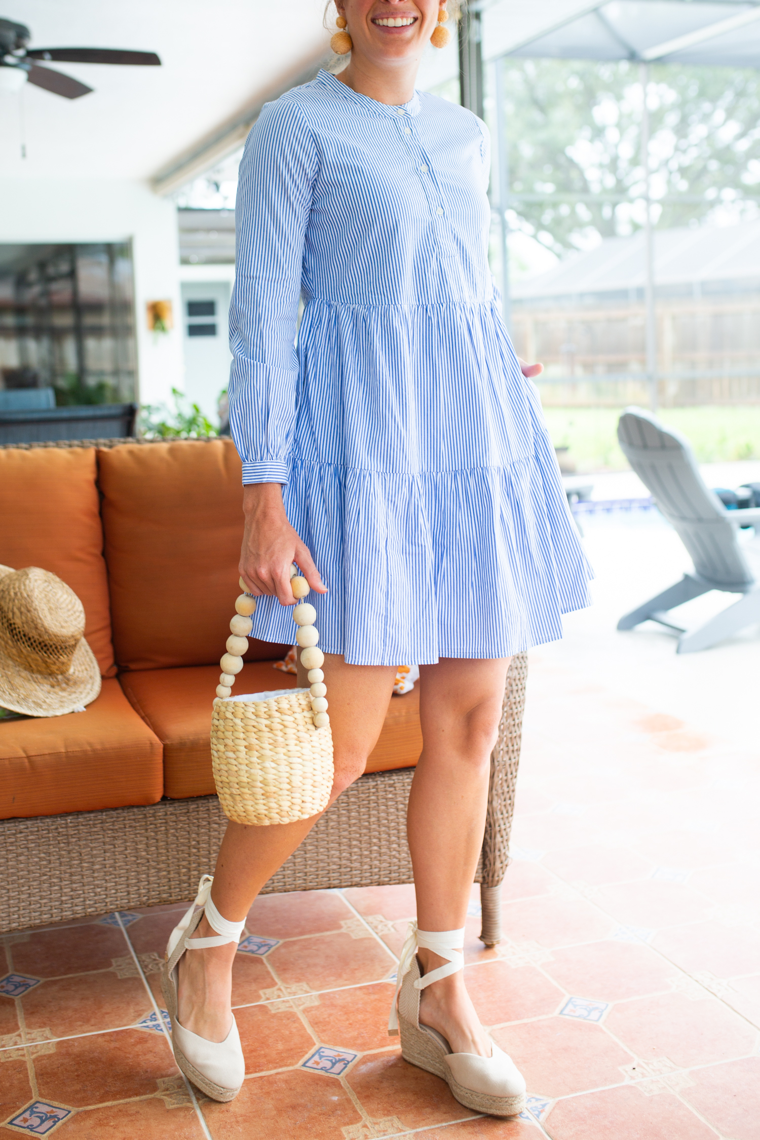 J.Crew Factory Babydoll Dress / Fall Dress Ideas / Fall Outfit Inspiration / Preppy Outfit / Blue and White Stripes / Bow Hair Scrunchie - Sunshine Style, A Classic and Coastal Fashion and Lifestyle Blog by Katie