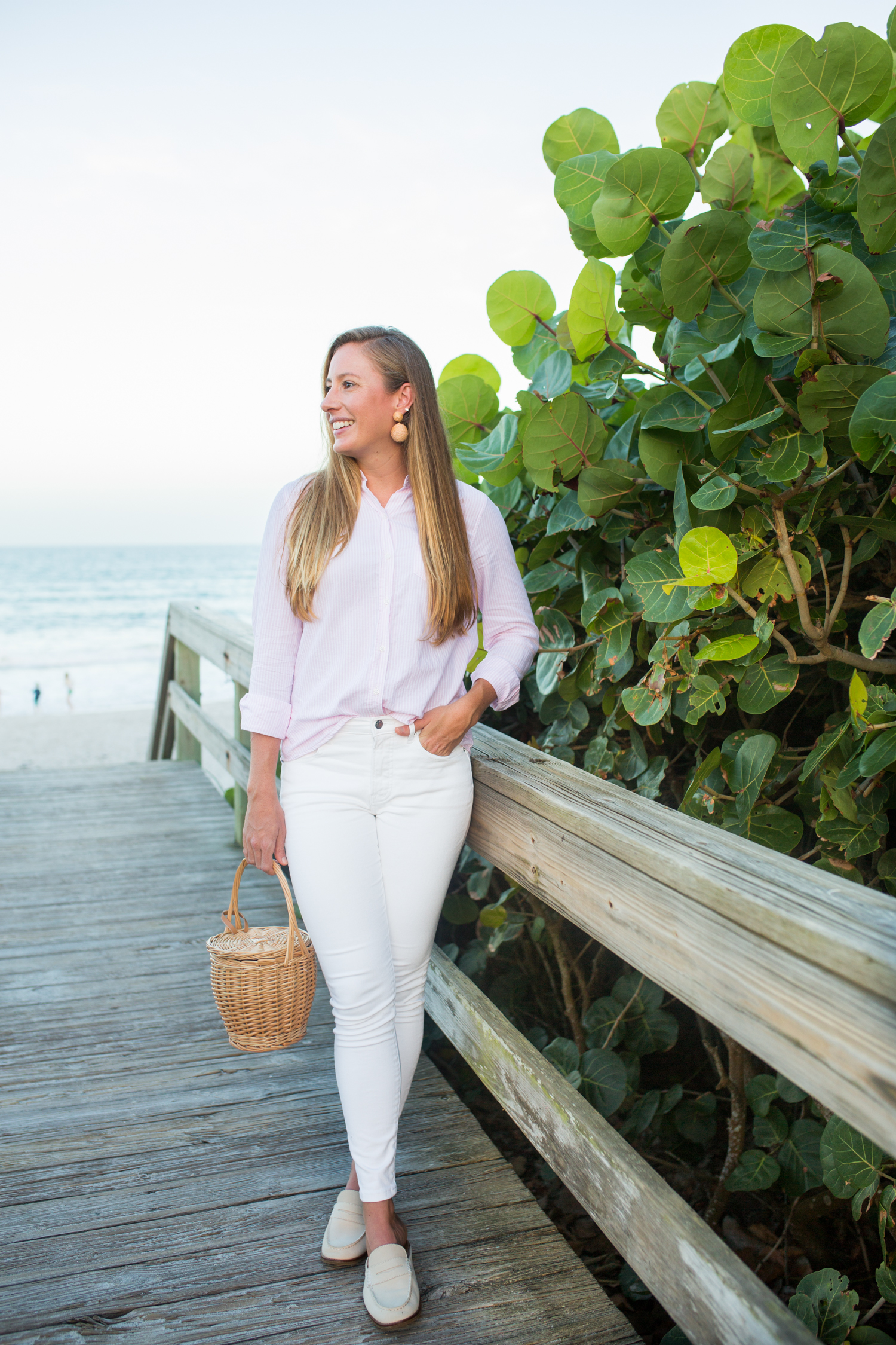 Striped Button Down Oxford Top / Fall Outfit Inspiration / White Skinny Jeans / Sperry Mules / Loafers / Early Fall Outfit / Fall Transition Outfit - Sunshine Style, A Preppy Fashion and Coastal Lifestyle blog by Katie
