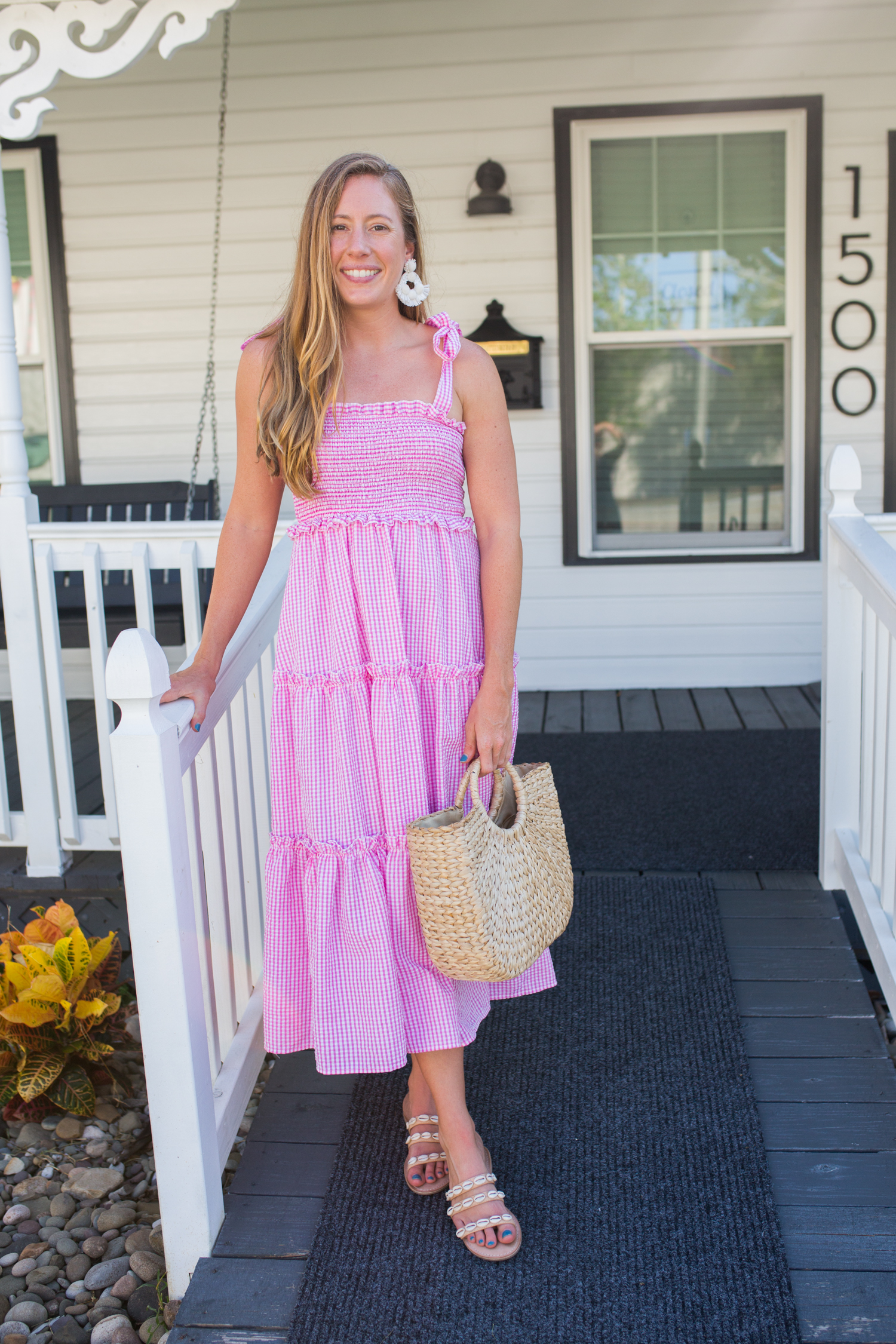 Gingham Tie Strap Midi Dress / Summer Dress Outfits / Preppy Style / Preppy Outfit / TIe Strap Dress / Casual Summer Dresses / Cute Dresses for Summer - Sunshine Style, A Preppy Fashion and Coastal Lifestyle Blog By Katie
