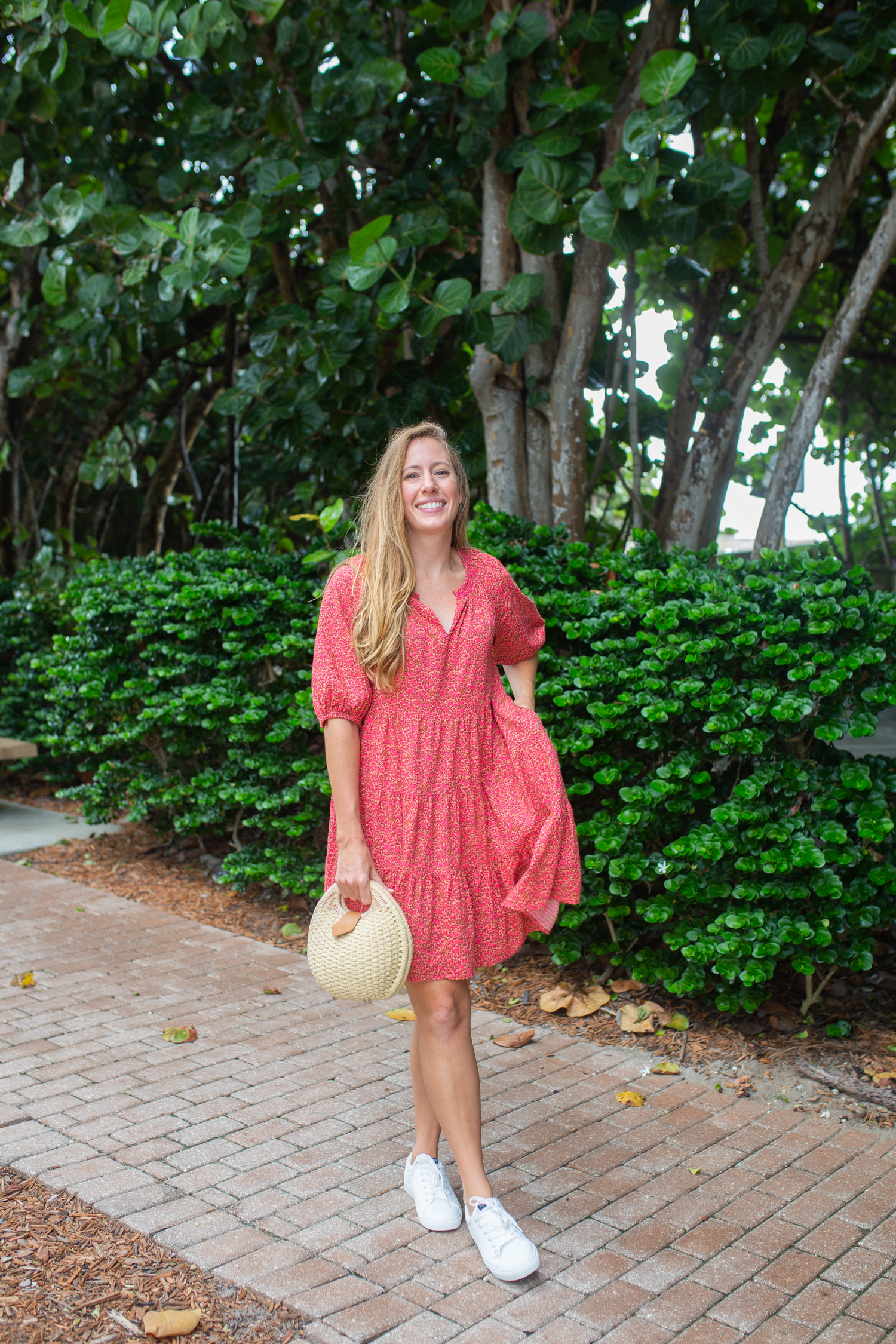 Puff Sleeve Babydoll Dress / How to Style a Dress with Sneakers / Fall Dress / White Sneakers / Fall Outfit Inspiration - Sunshine Style, A Coastal Fashion and Lifestyle Blog