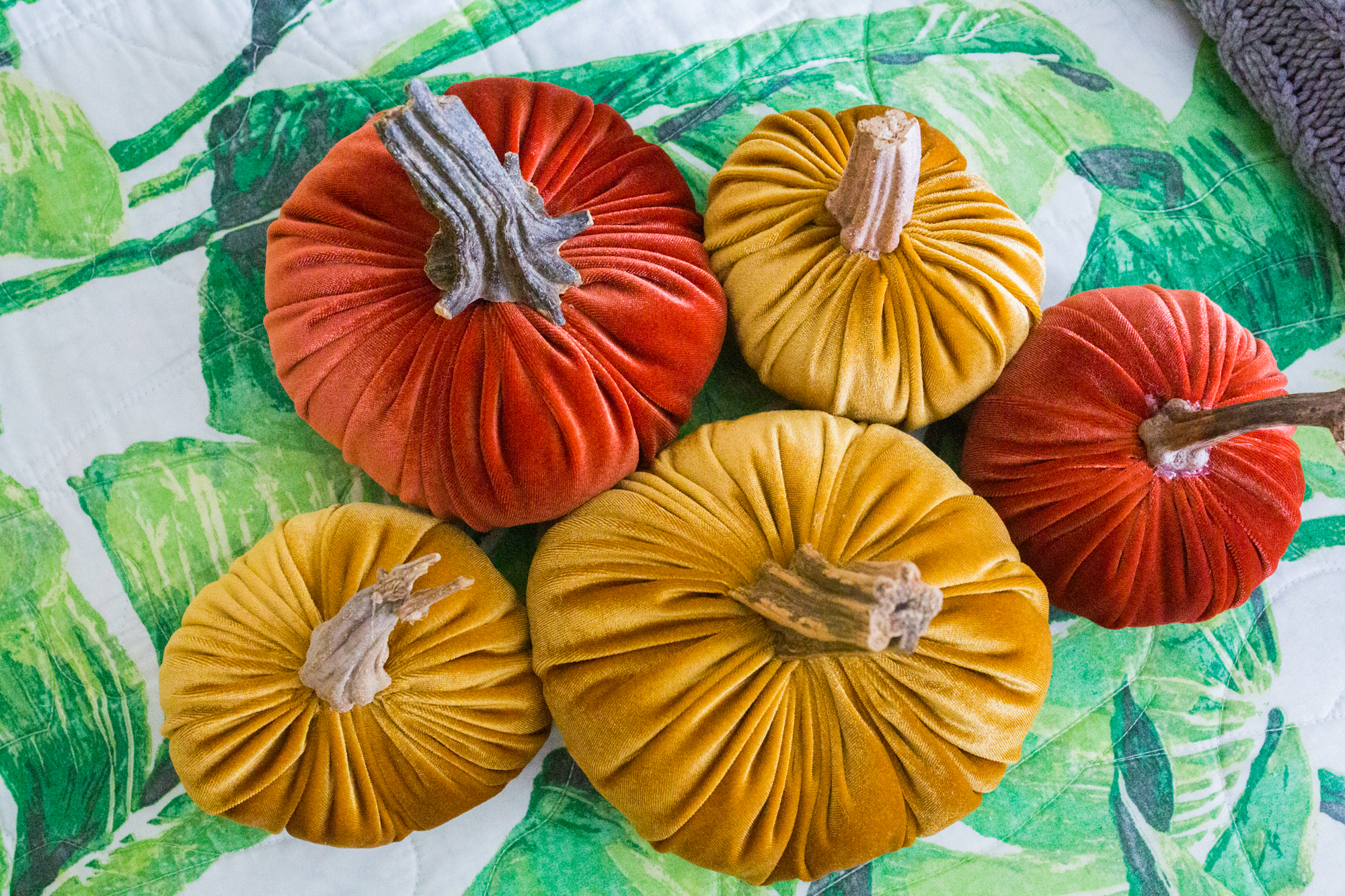 How to Make DIY Velvet Pumpkins / Fabric Pumpkin DIY Velvet / Decorating Ideas / DIY Fall Decorations / Autumn Decorating / Woven Pumpkin - Sunshine Style, A Florida based Fashion blog by Katie