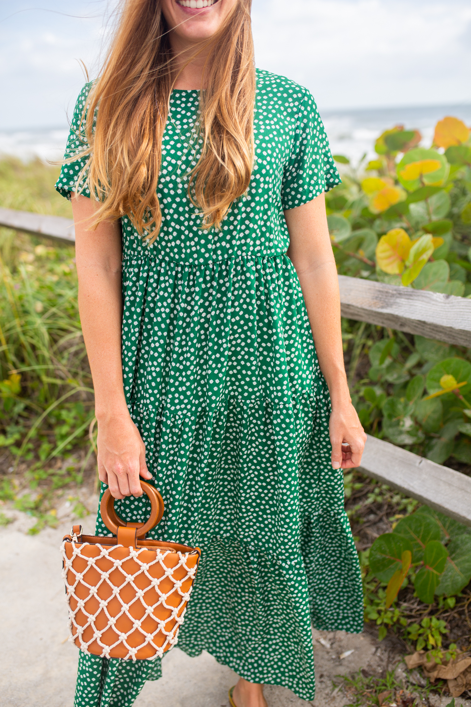 What to Wear This Fall When It's Still Warm Out / Fall Dress Outfit / Fall Dress Casual / Green Maxi Dress / Emerald Dress / Yellow Accessories / Cute Fall Dresses / Autumn Outfits - Sunshine Style, A Florida Fashion and Lifestyle Blog by Katie