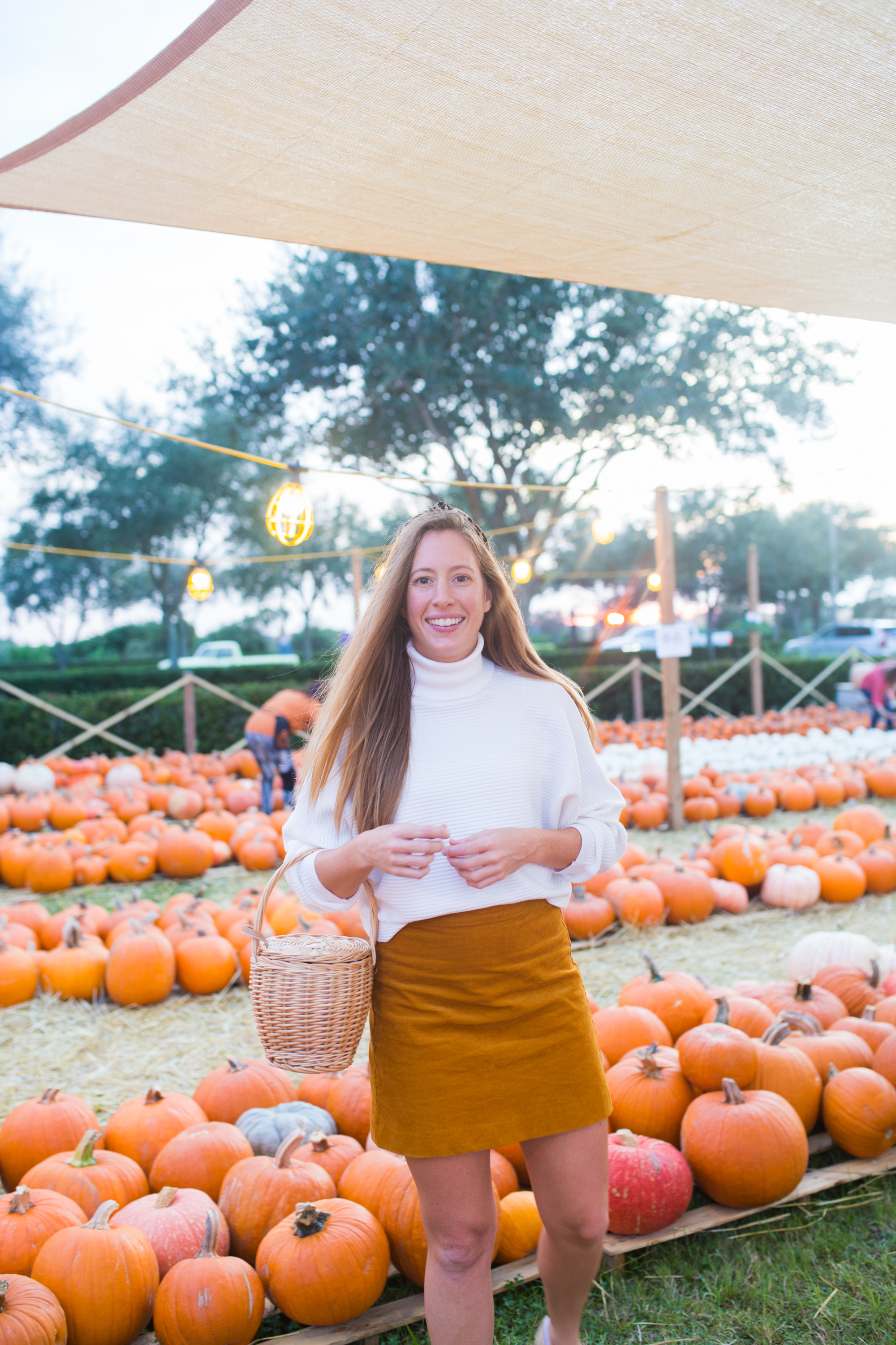 Fall Transition Outfit / Warm Weather Fall Outfits / Fall Outfits for Hot Weather / Florida Fall Outfits Women / Leopard Scrunchie / Corduroy Skirt / Knit Sweater / Sunshine Style - Florida Fashion Blogger By Katie