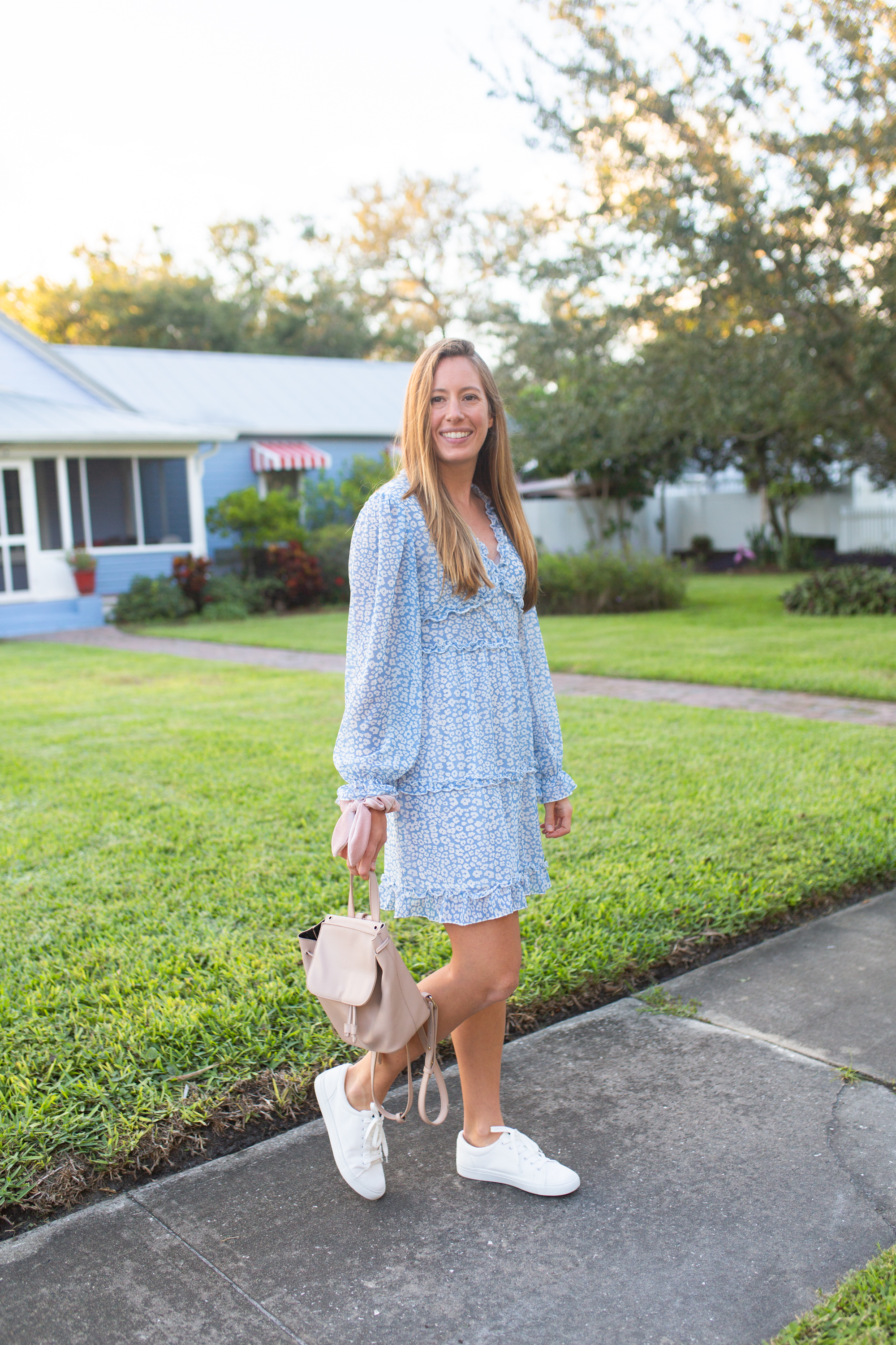 White Sneakers Outfit / Where to Buy the Best White Sneakers / White Sneakers with Dresses / How to Style White Sneakers  / White Sneakers Outfit Winter / Blue Dress - Sunshine Style, A Florida Fashion and Lifestyle Blog by Katie