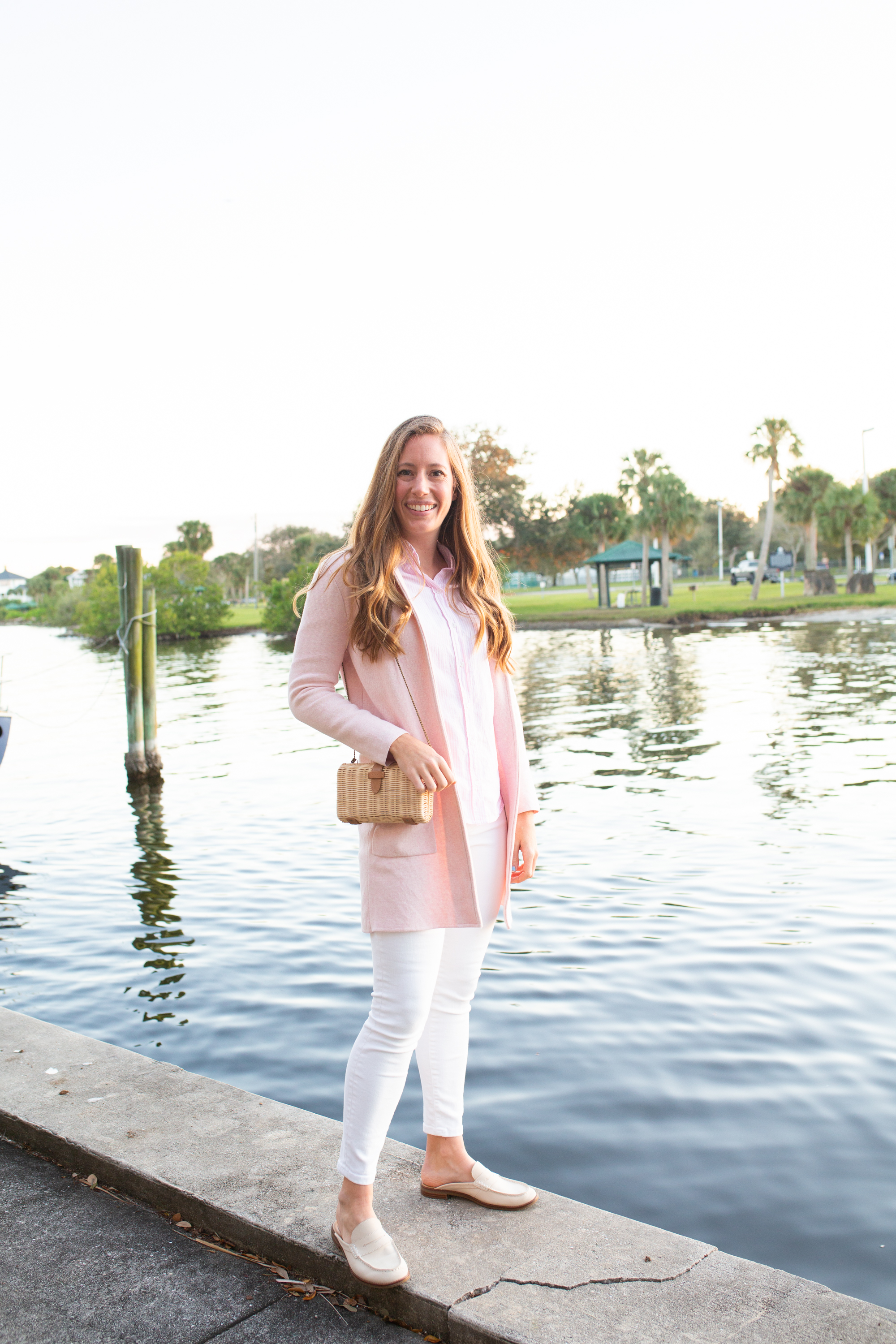 How to Style a Sweater Blazer / White Jeans / Mules / Classic Outfit Inspiration / Winter Outfit Idea / T-Shirt with Blazer Outfit - Sunshine Style, A Florida Based Fashion and LIfeStyle Blog by Katie