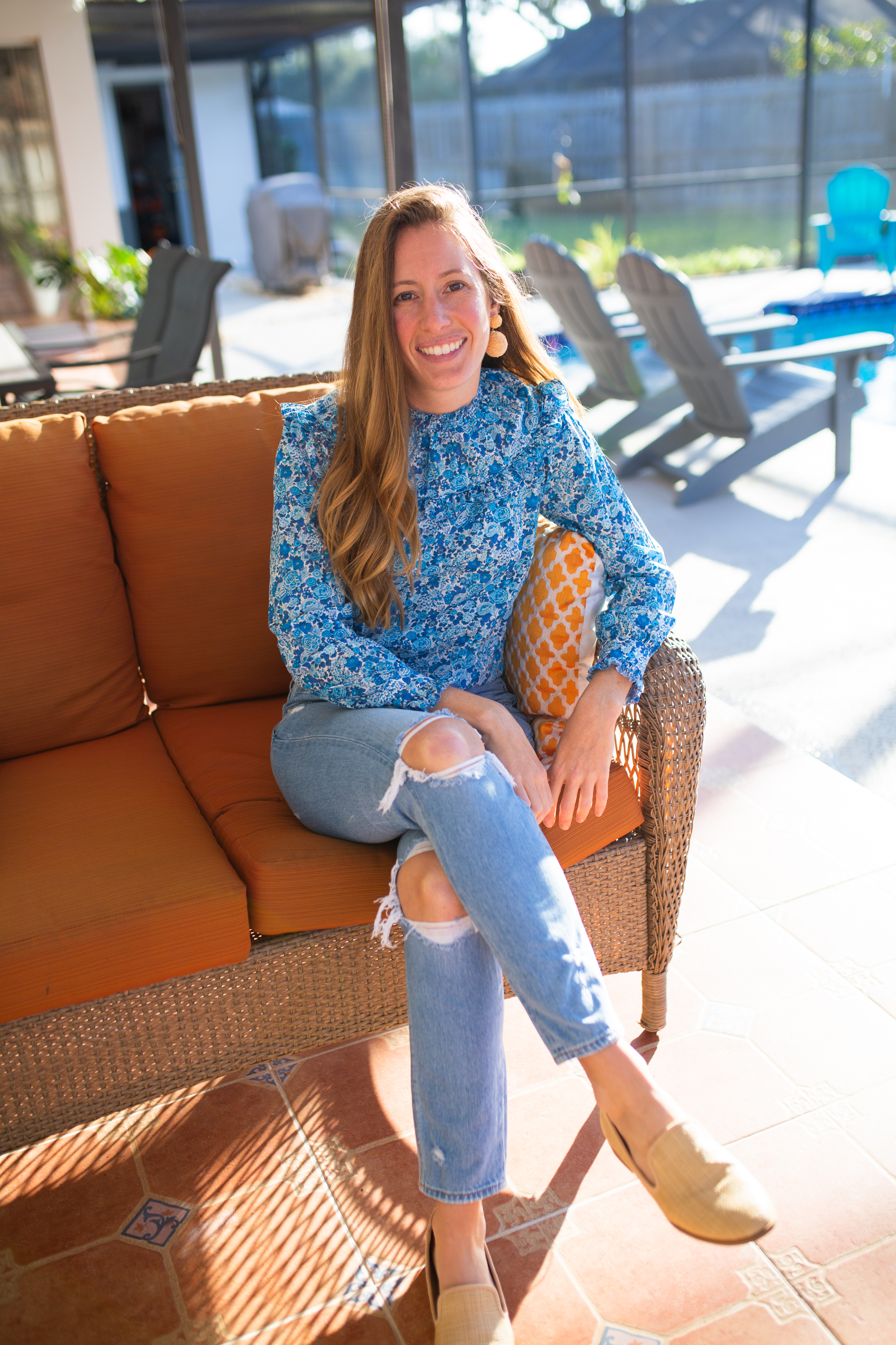 J.Crew Liberty Print Floral Blouse / Mom Jeans / Florida Blogger / Ruffle Long Sleeve Top / Liberty London / Winter Outfit / Winter Style / Floral Top / Raffia Statement Earrings - Sunshine Style, A Florida Based Fashion and Lifestyle Blog by Katie