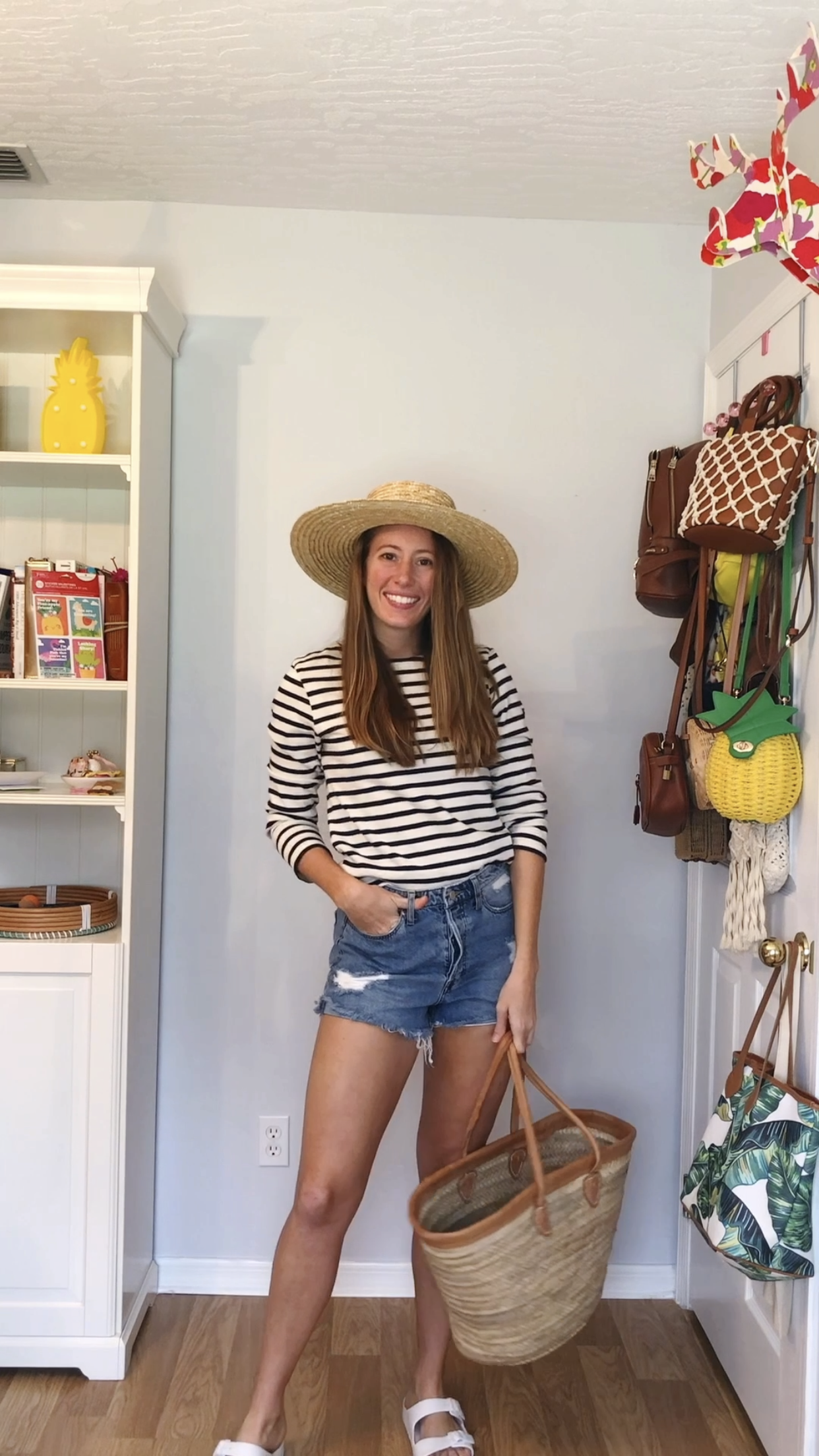 3 Ways to Wear a Long Sleeve Striped Shirt / Beach Outfit / Denim Shorts / Cutoff Shorts / Striped Top / Beach Bag / Rattan Accessories / Sunshine Style - A Florida Fashion Blog by Katie