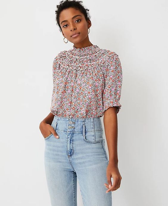 floral top with high neckline