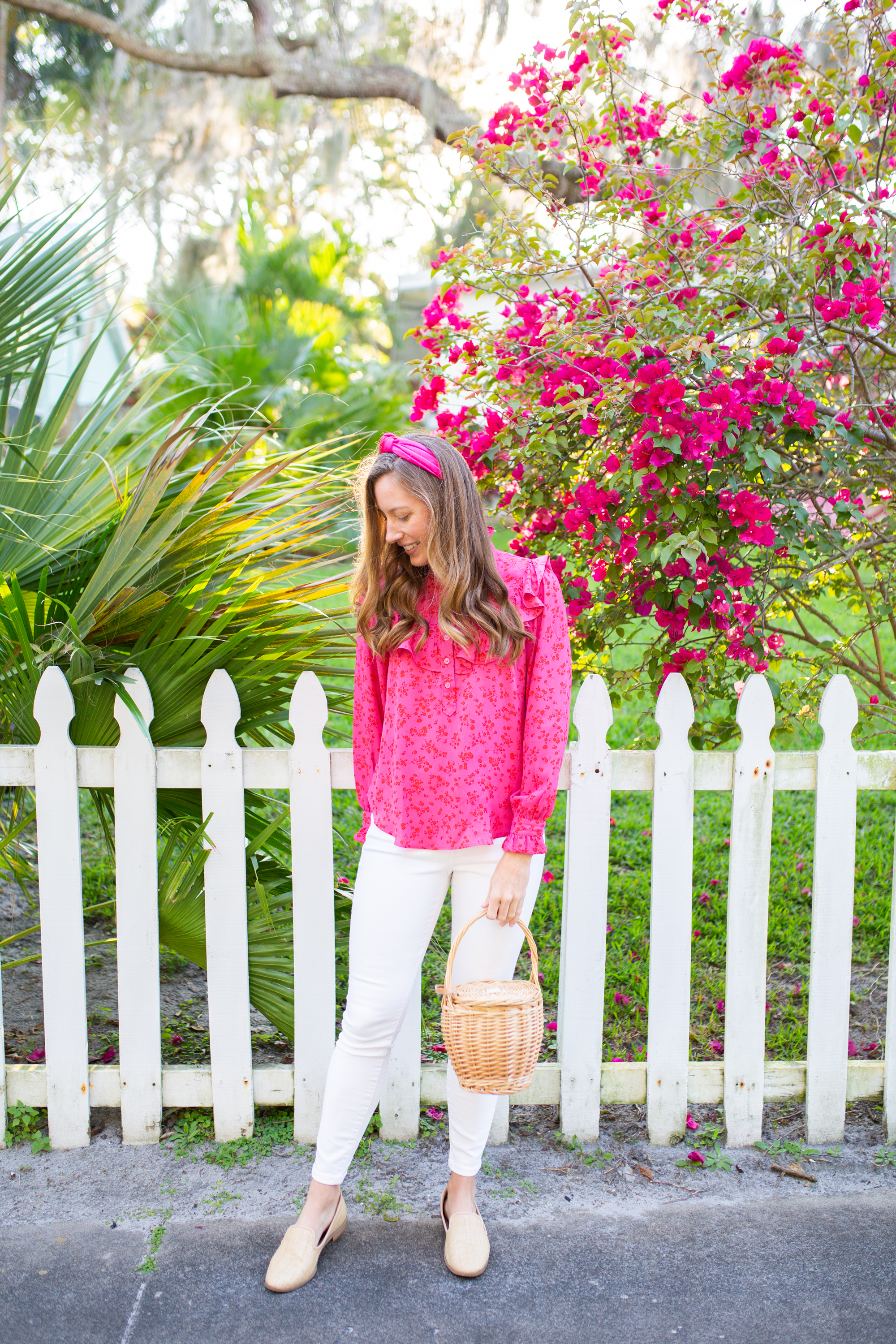 Floral Tops for Spring / Spring Tops for Women / Ruffle Top / Long Sleeve Blouse / White Jeans / Spring Outfit Inspiration / Floral Tops and Jeans / Floral Tops Outfit - Sunshine Style, A Florida Fashion blog by Katie