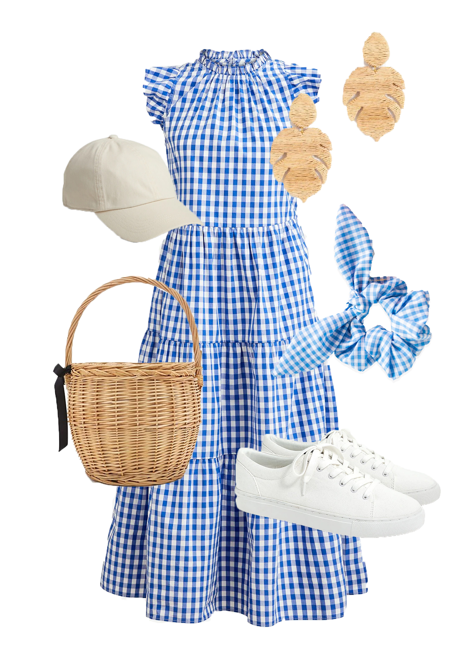 coastal style outfit idea with gingham blue dress and white sneakers