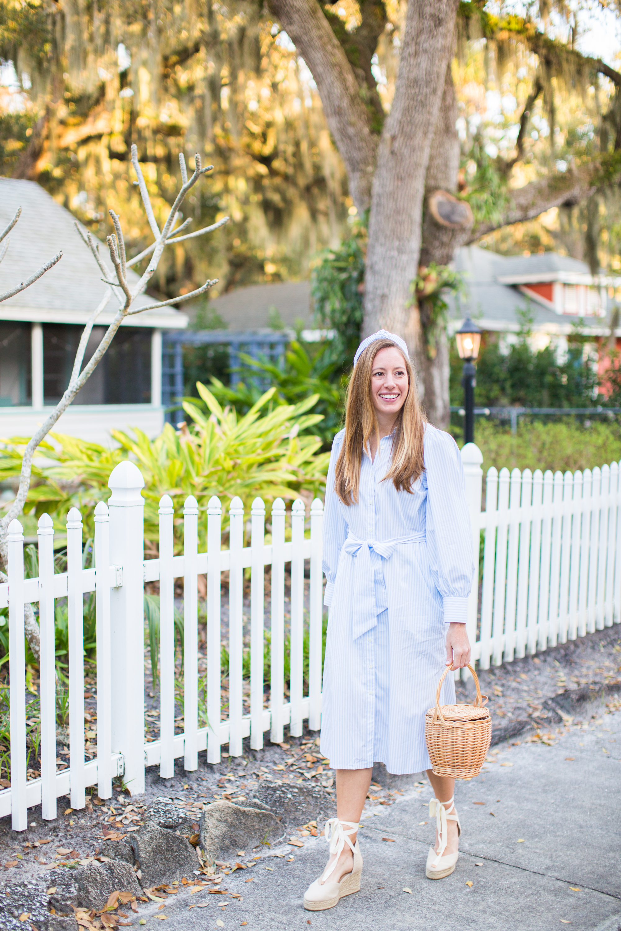 How to Style a Long Sleeve Striped Dress for Spring / Easter Dress / Easter Outfit / Spring Dress / Blue Stripe Dress / Spring Outfit Inspiration / Blue Striped Headband / Sunshine Style - A Florida Based Fashion and Lifestyle Blog by Katie
