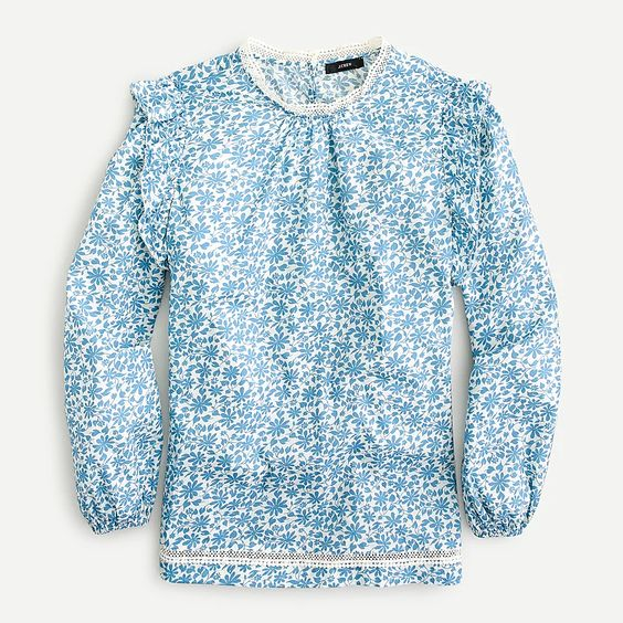 blue floral tops with long sleeves