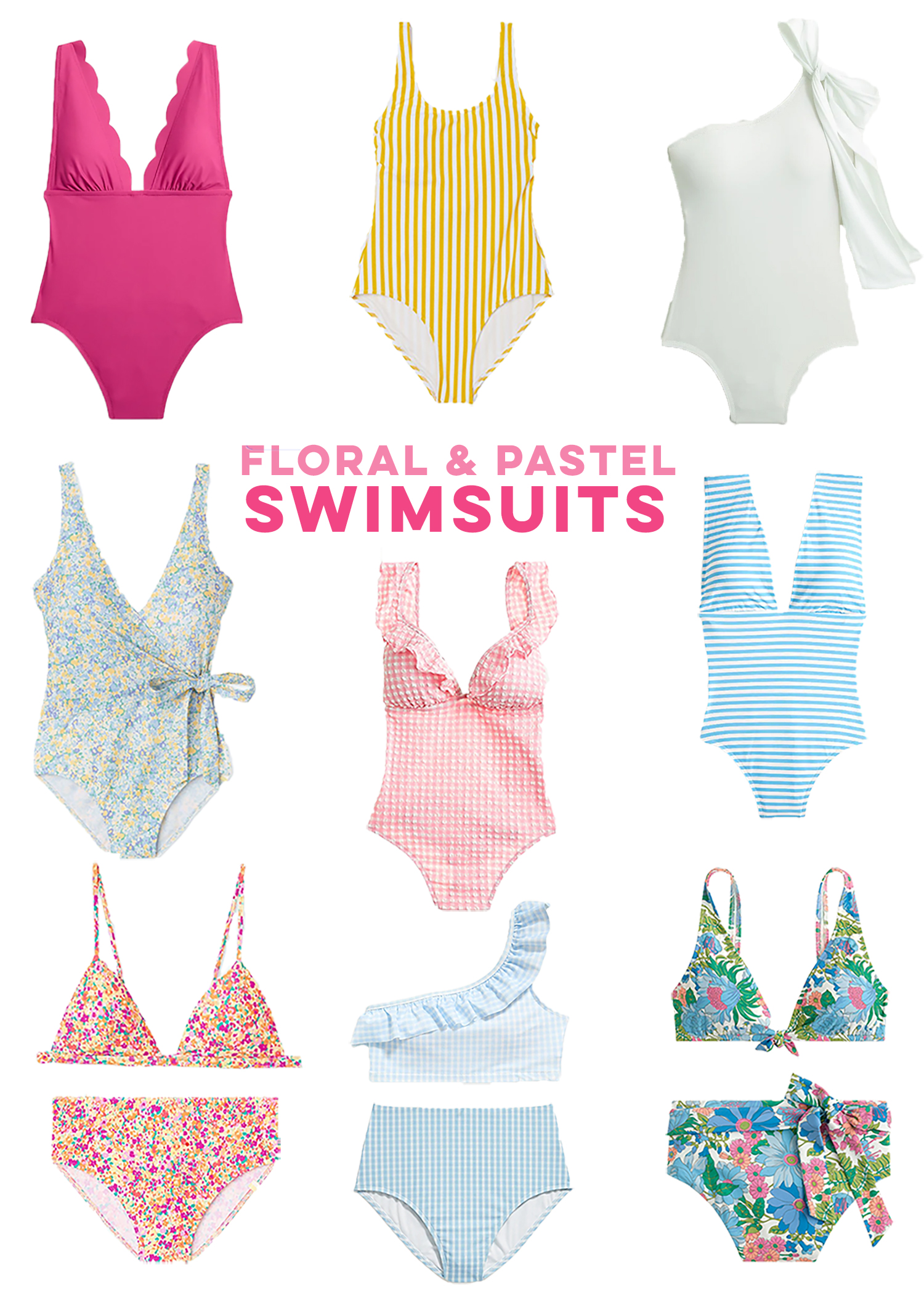 collage of floral and pastel swimsuits