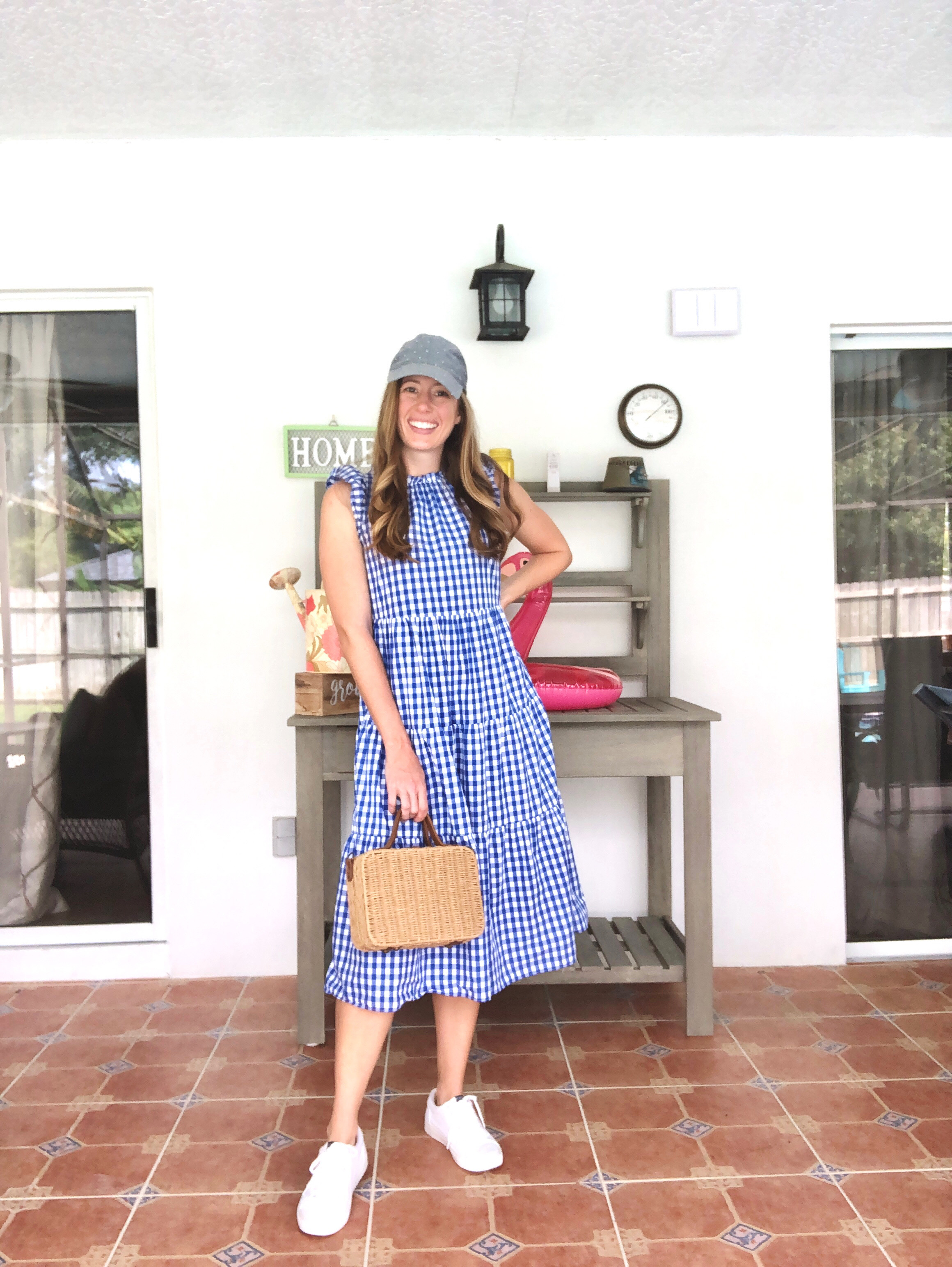 Blue Gingham Babydoll A-line Dress with White Sneakers and a baseball cap