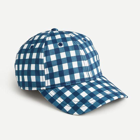 a baseball cap with blue gingham print