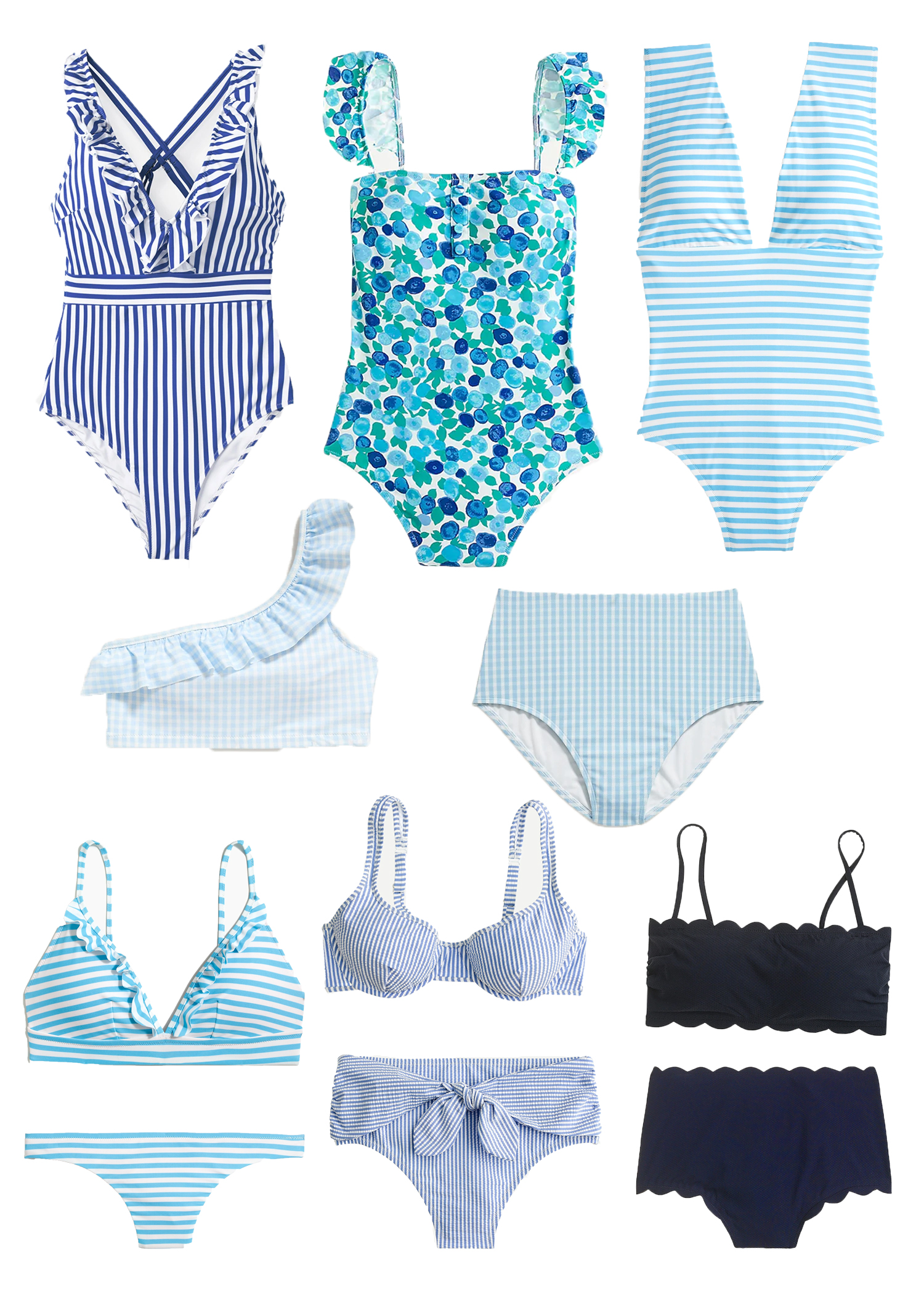Ruffle One Shoulder Gingham Swimsuit Top / Blue and White Swimsuits / High Waisted Swimsuit / Beach Vacation Outfit / Summer Swimsuit / Sunshine Style - A Florida Based Fashion and Lifestyle Blog by Katie