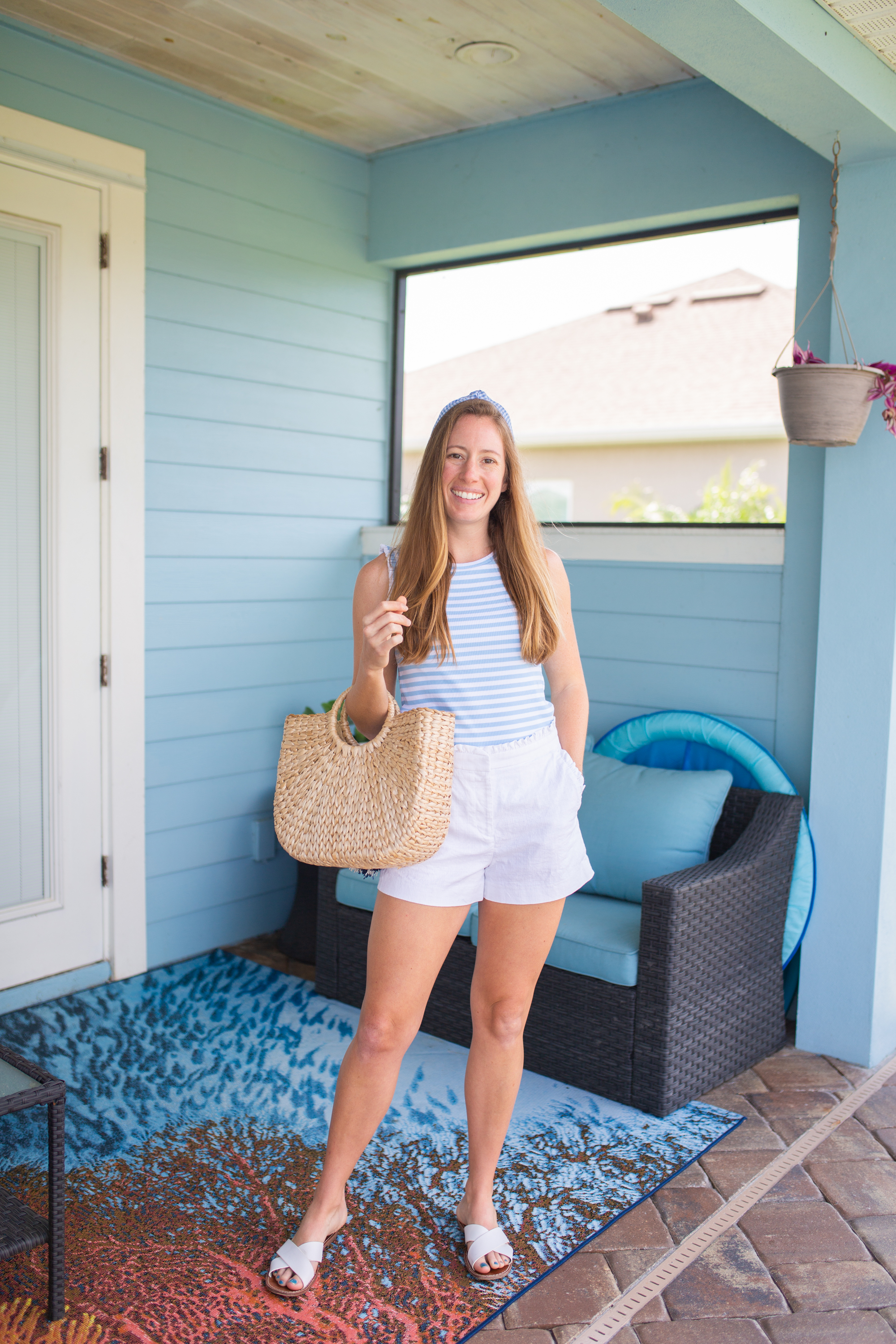 Blue & White Striped Tank & White Shorts paired with white sandals and sunshine style headband