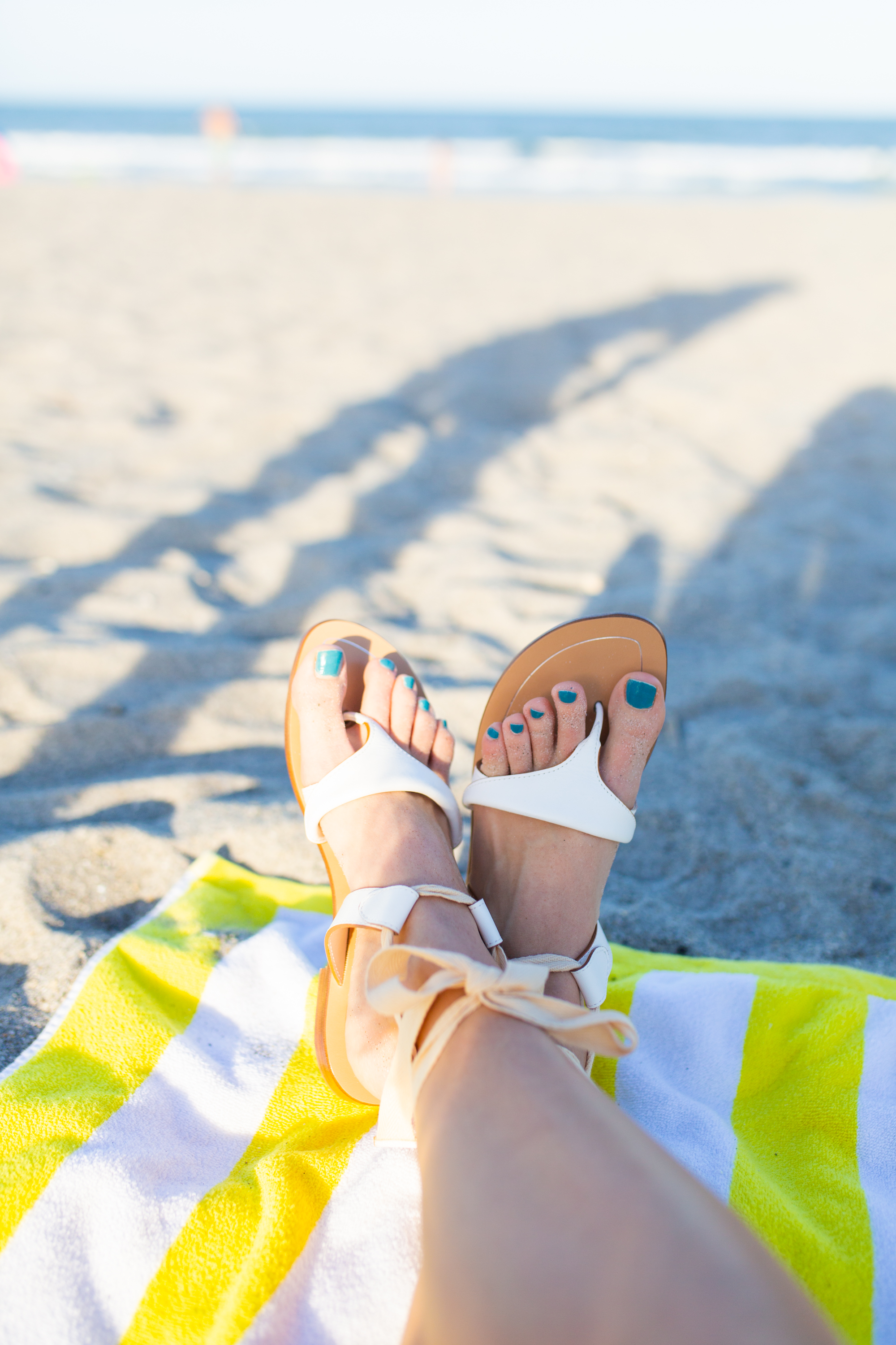 Beach Outfit Idea / Sarah Flint Grear Sandals / What to Wear on a Beach Vacation / Perfect Summer Sandals / Casual Summer Outfit / Striped Top Outfit - Sunshine Style, A Florida Based Fashion and Lifestyle Blog by Katie