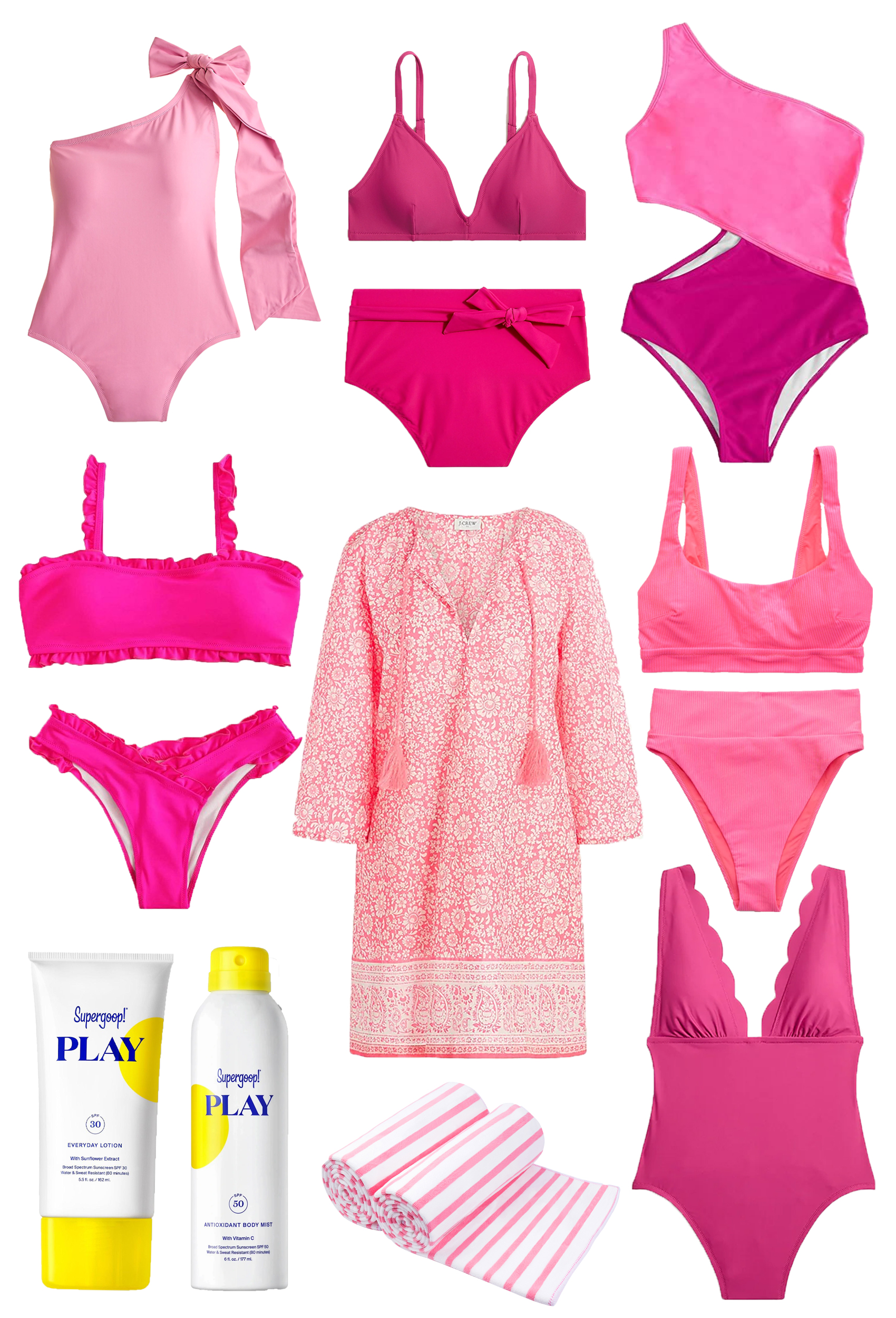 collage of Pink Summer Swimsuits