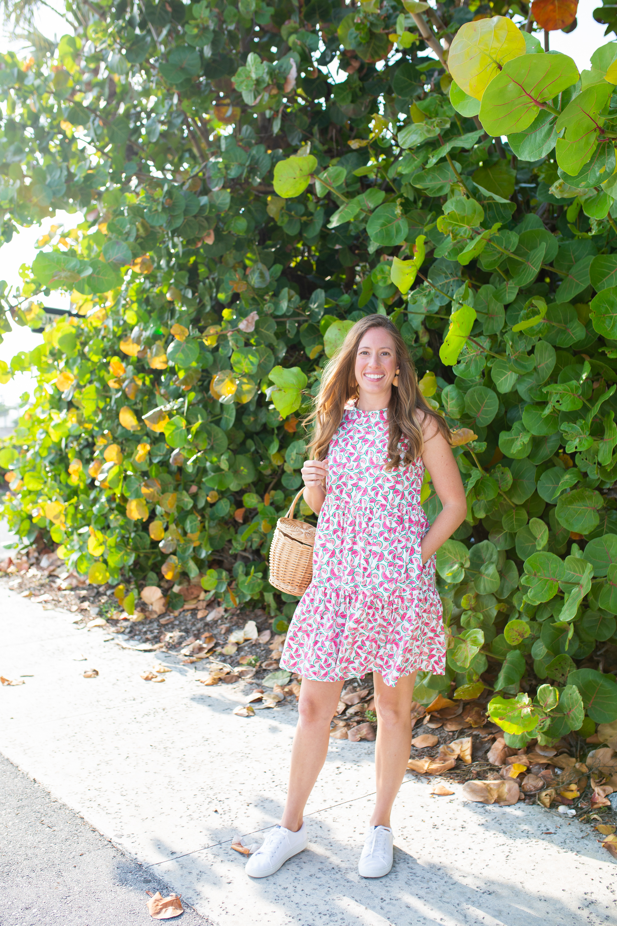 woman in outdoors wearing Citrus Print Pieces dress