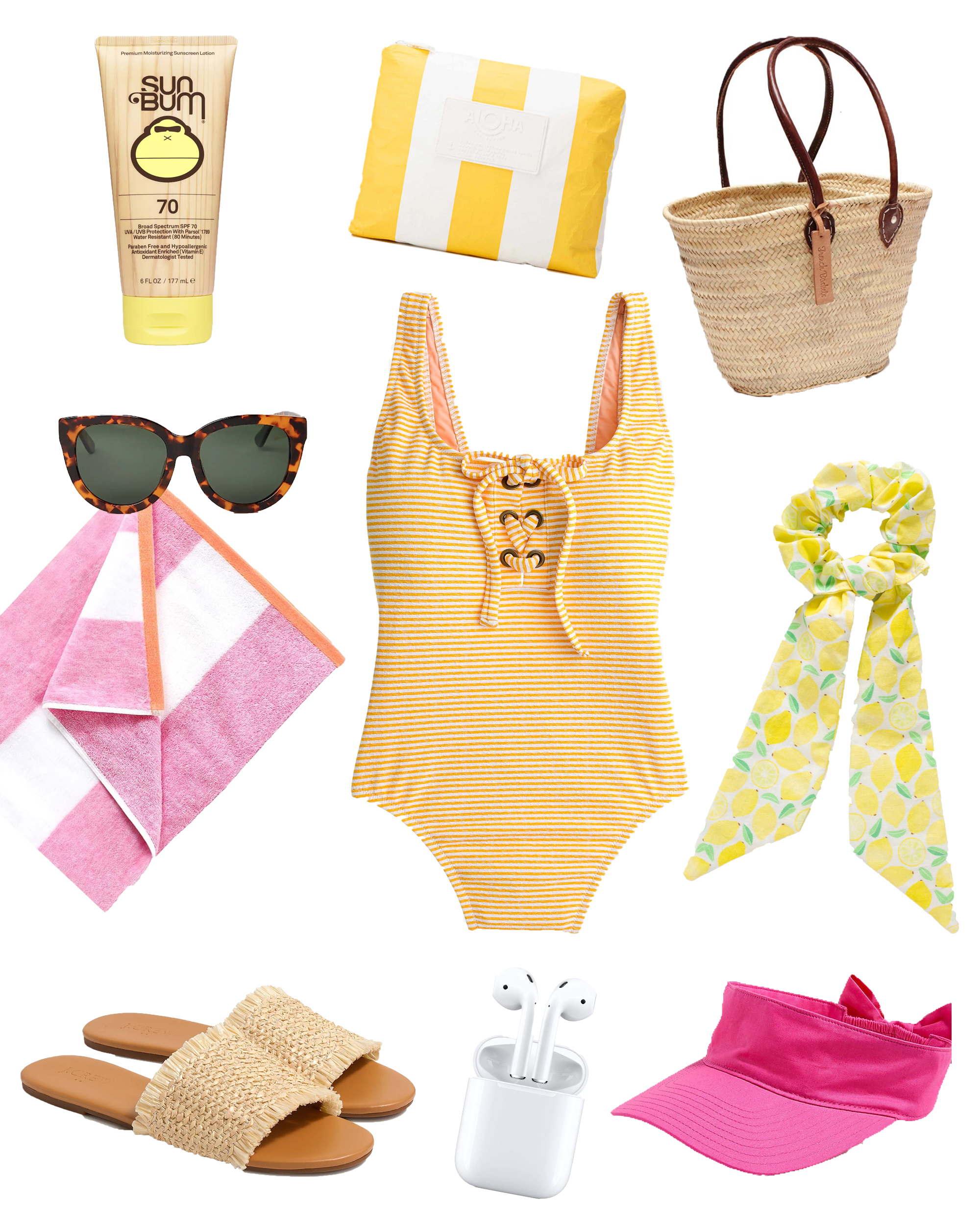 Beach Bag Packing List Essentials / Packing A Bag for the Beach / What to Pack In Your Beach Bag / - Sunshine Style - A Florida Based Fashion and Lifestyle Blog by Katie