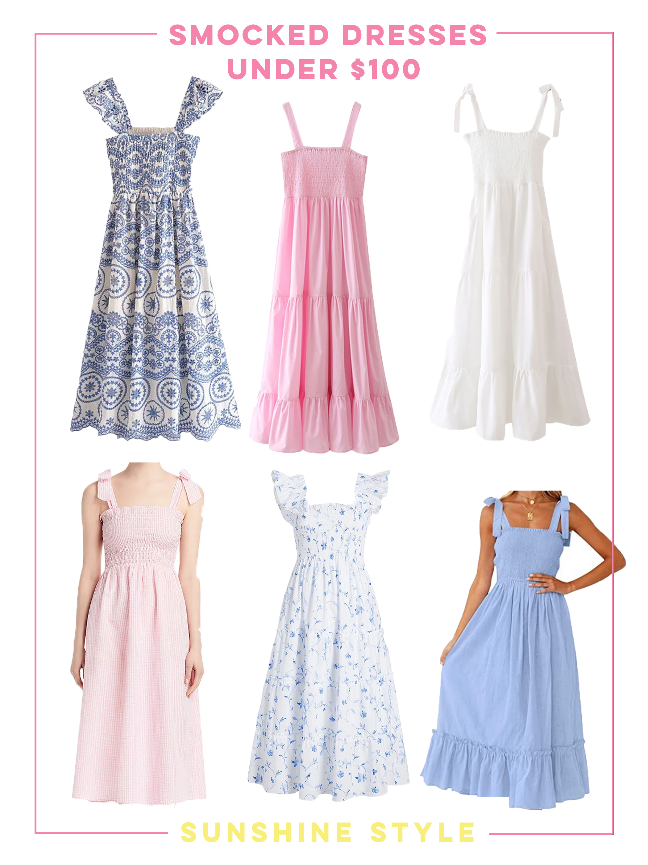 collage of Smocked Dresses under $100