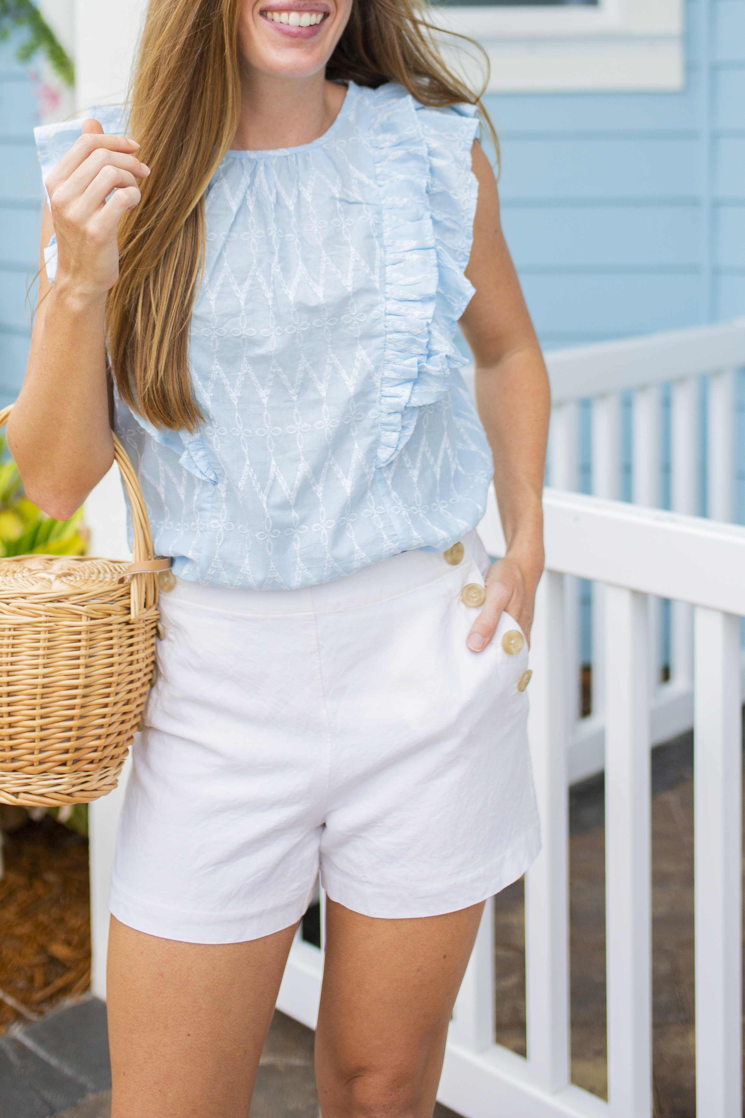 woman wearing blue and white End of Summer Pieces