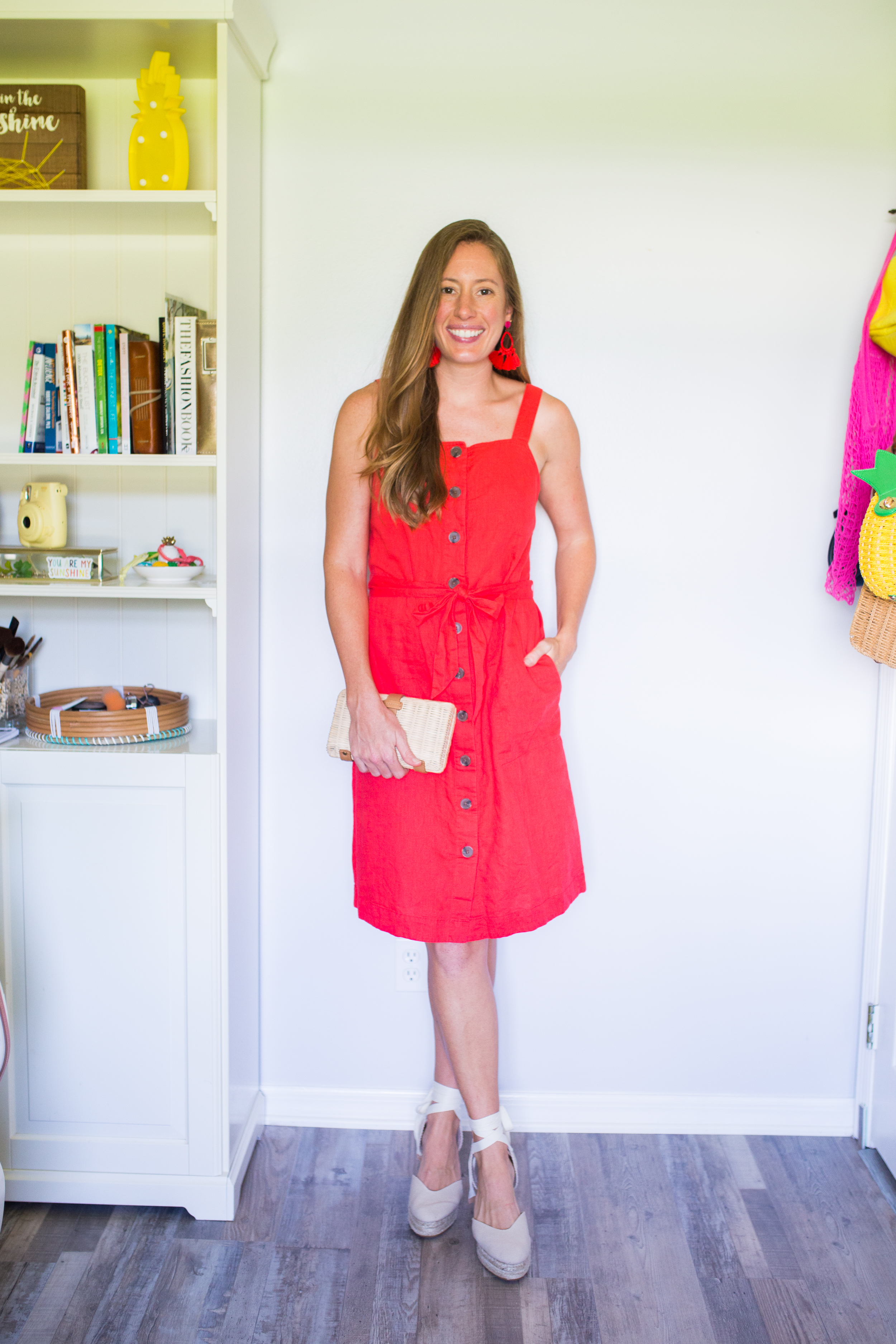 woman in red button down dress from Classic Amazon Dresses