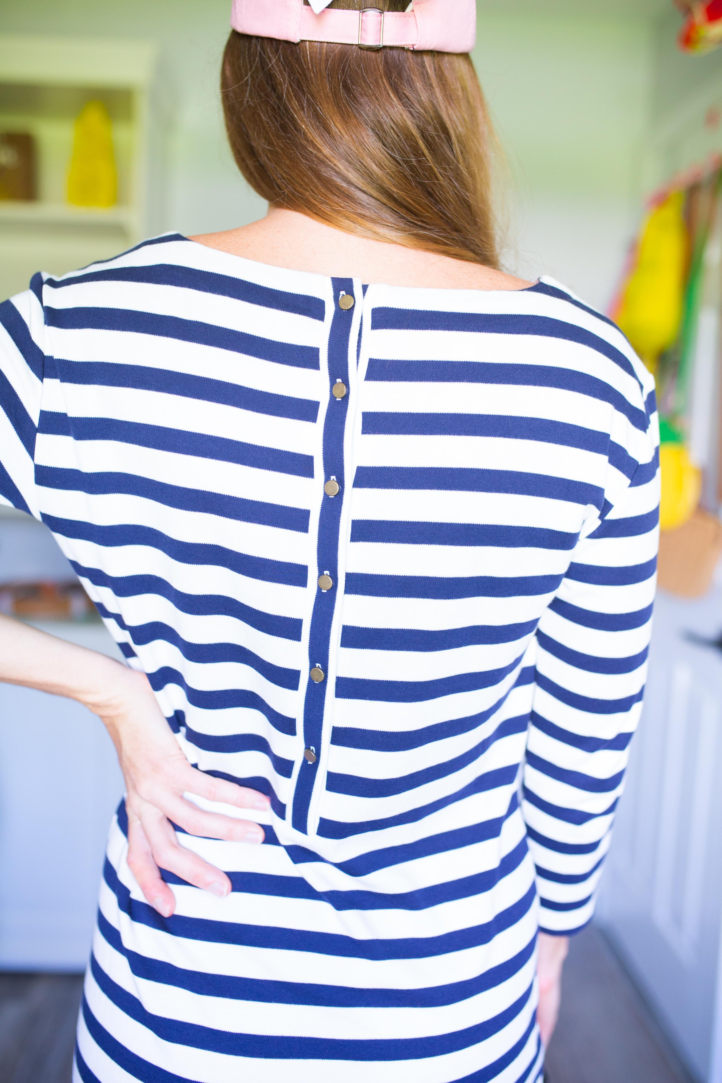 back details of a stripe dress