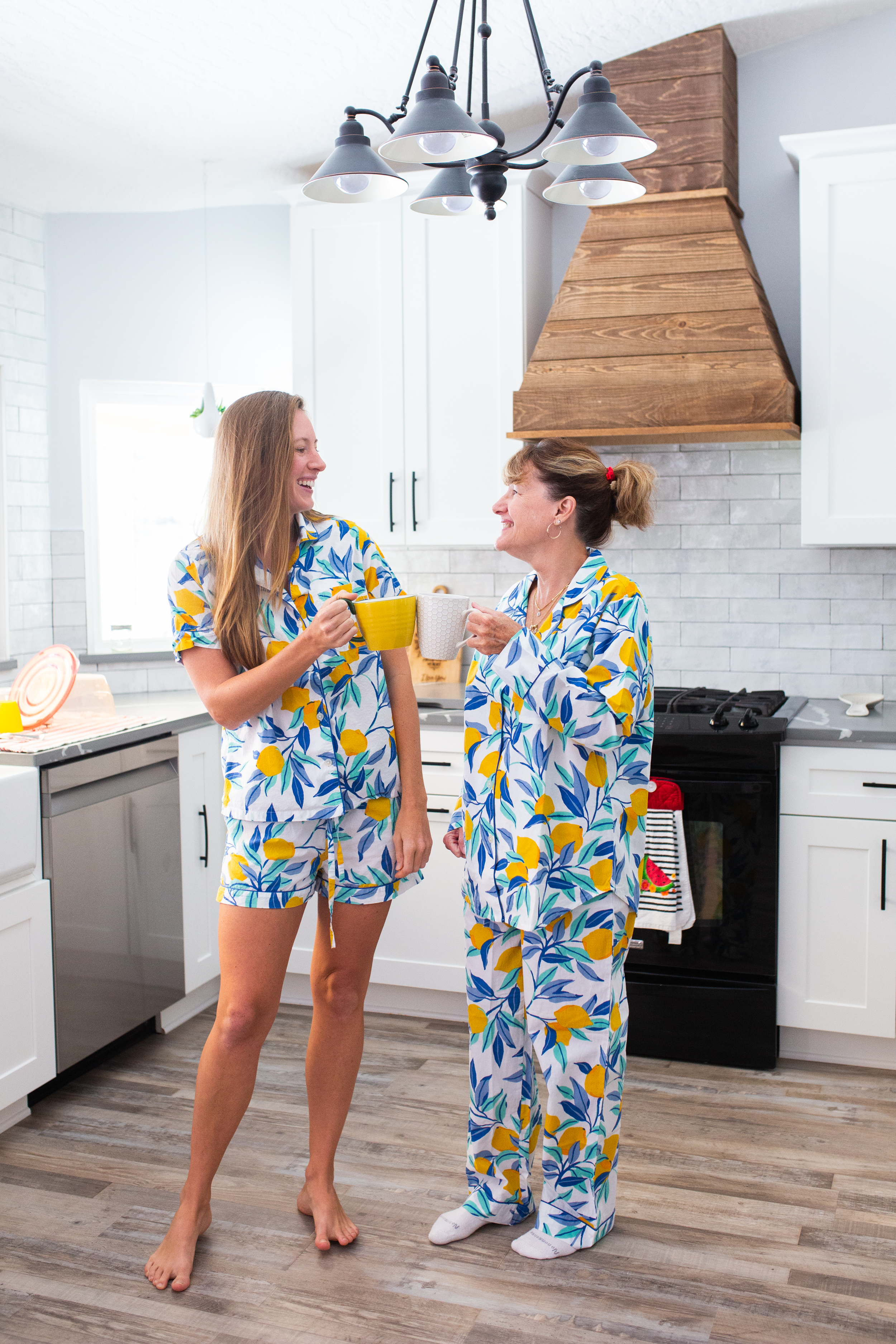 Two women in Sustainable Sleepwear from Printfresh short and long sleep sets are perfect for summer and beyond. These matching pajama sets are made from 100% organic cotton sustainably in India. Click to see my review of the matching Printfresh Pajamas including sizing!