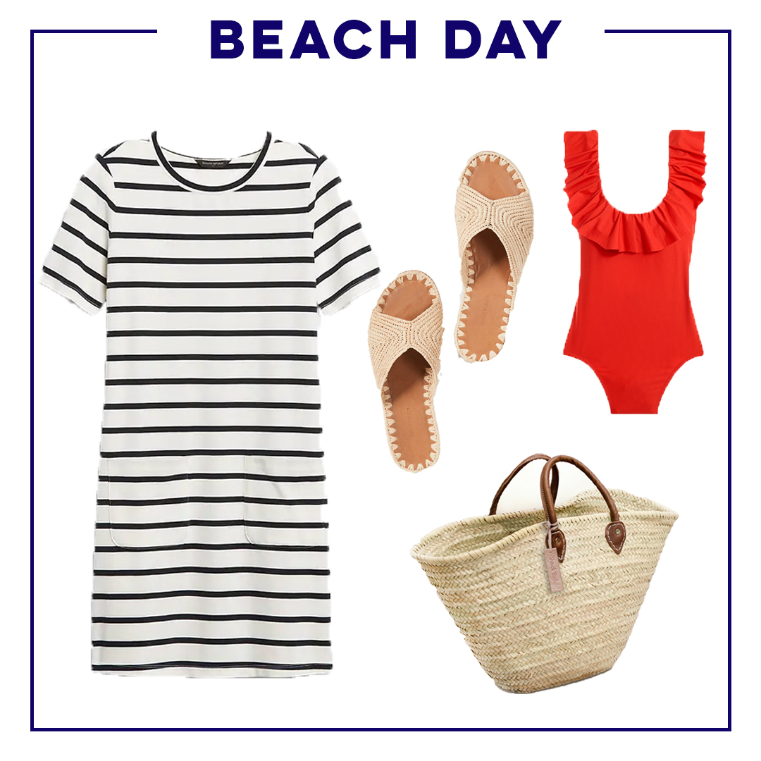 collage of beach day outfit