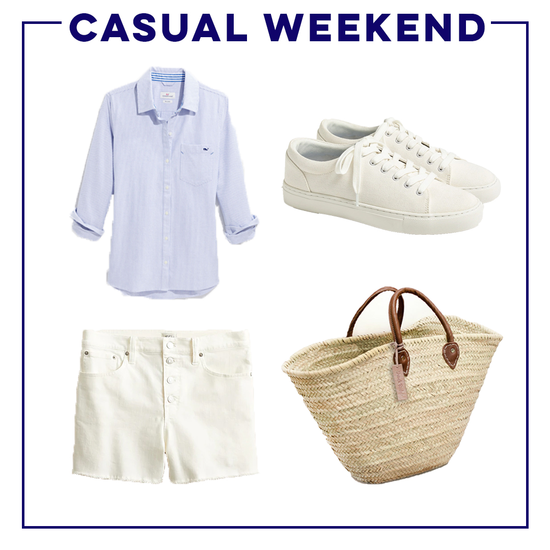 collage of casual weekend Warm-Weather Classic Wardrobe