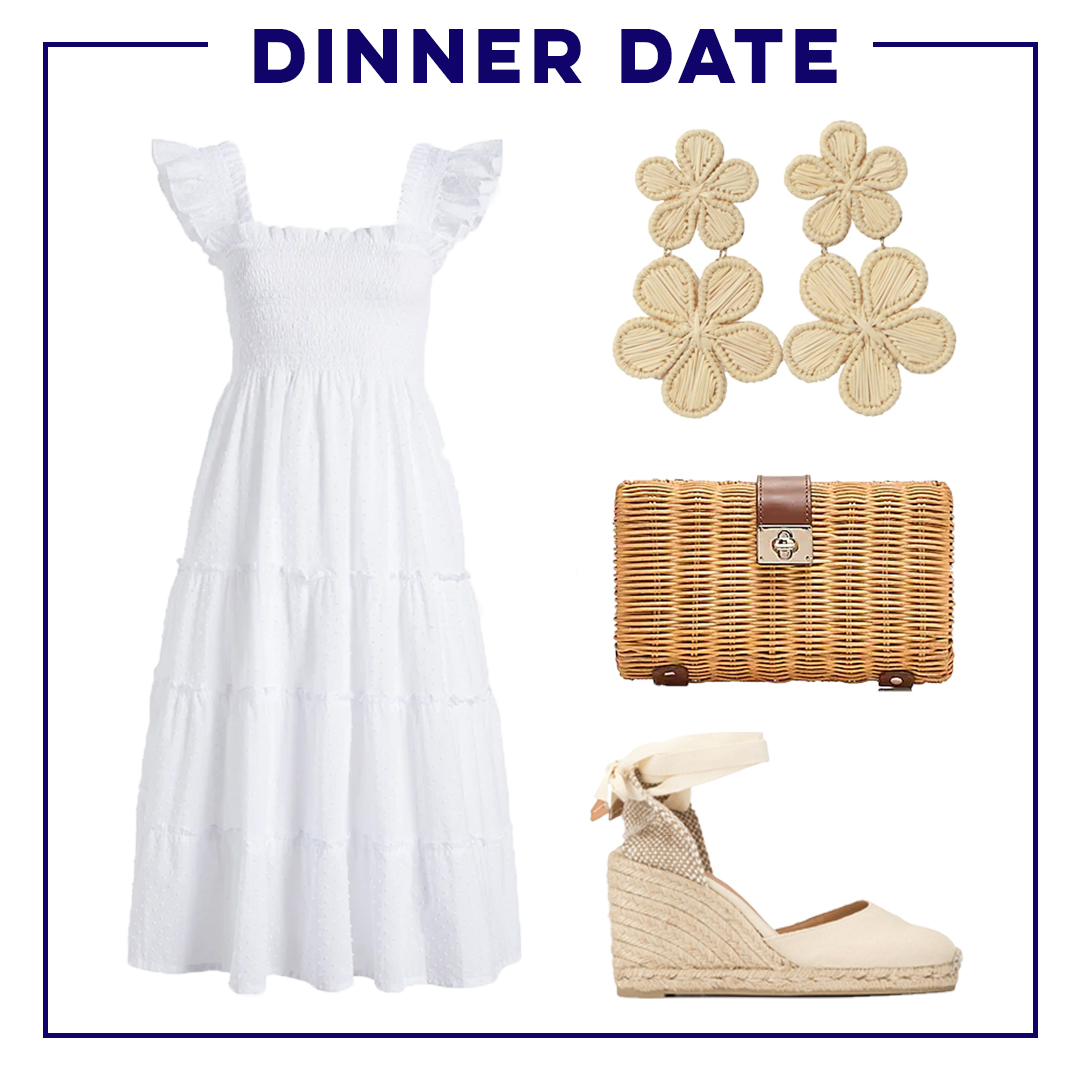 collage of dinner date Warm-Weather Classic Wardrobe