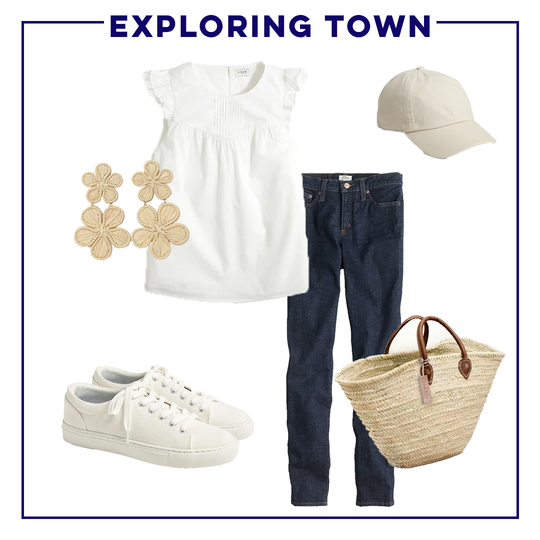collage of clothes to wear to explore the town