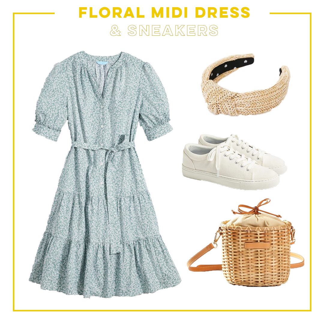 collage of floral midi dress and sneakers Summer to Fall Transition Outfits